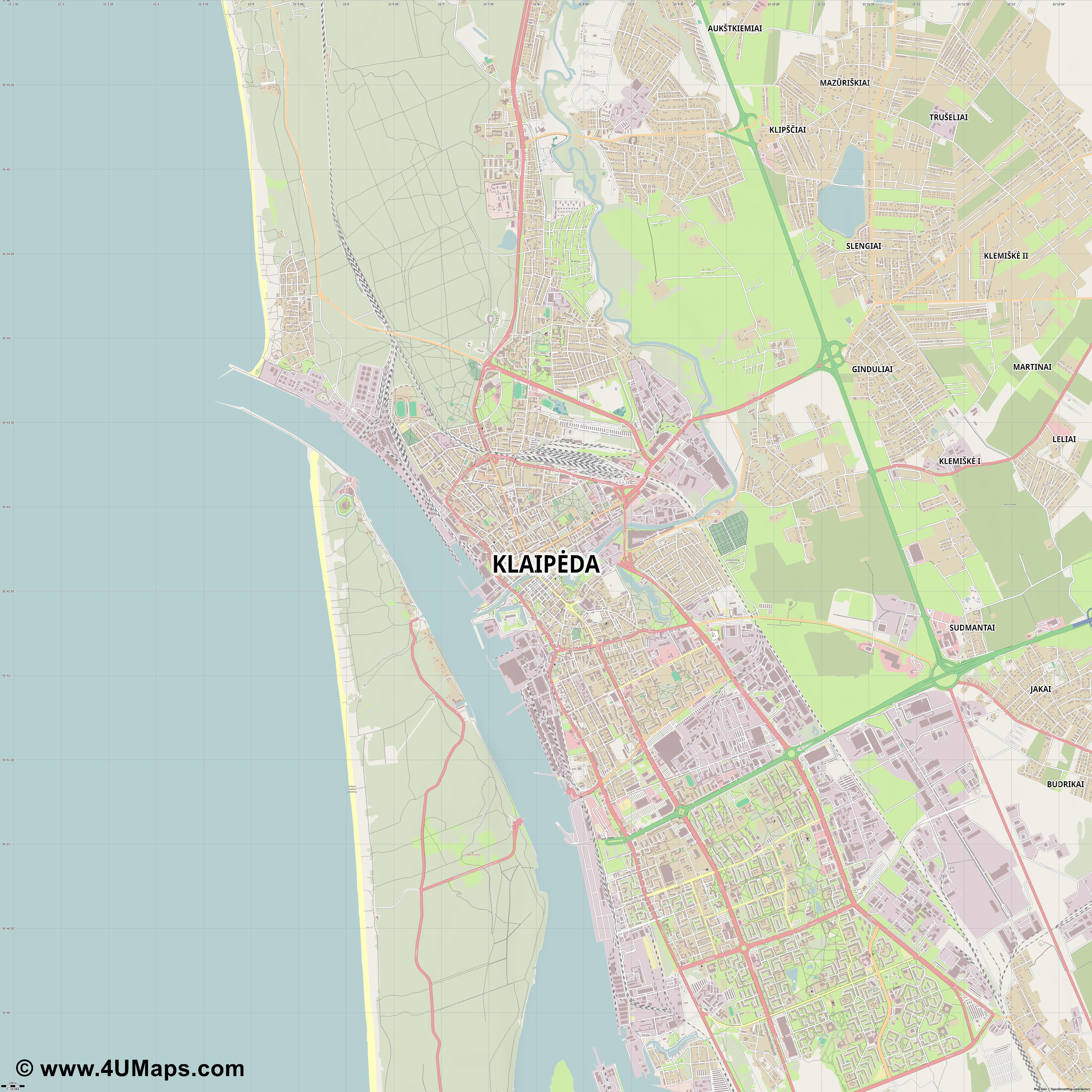 PDF, Svg Skalierbarer Vektor Stadtplan, Vektorkarte Klaipėda