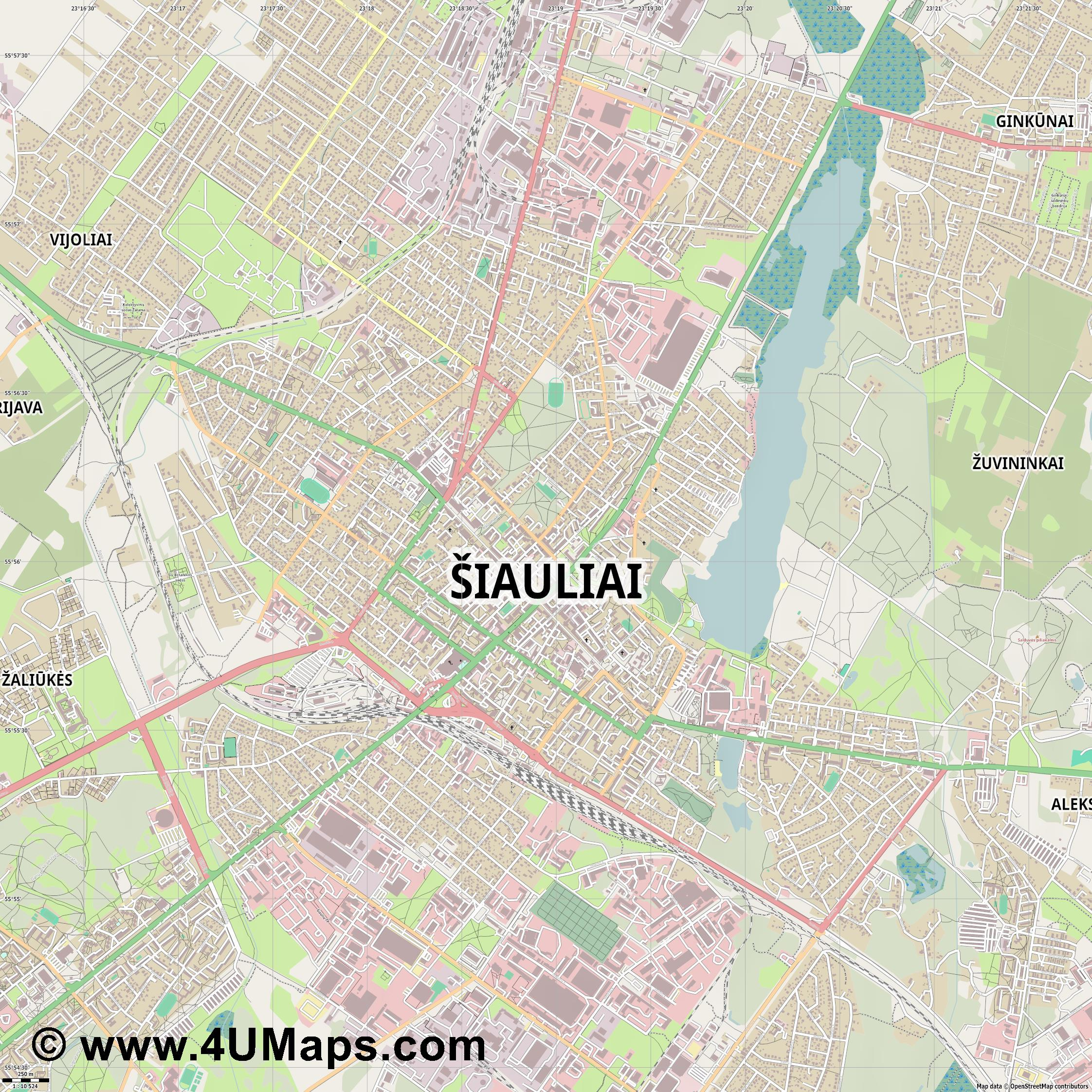 Šiauliai Schaulen  jpg ultra high detail preview vector city map
