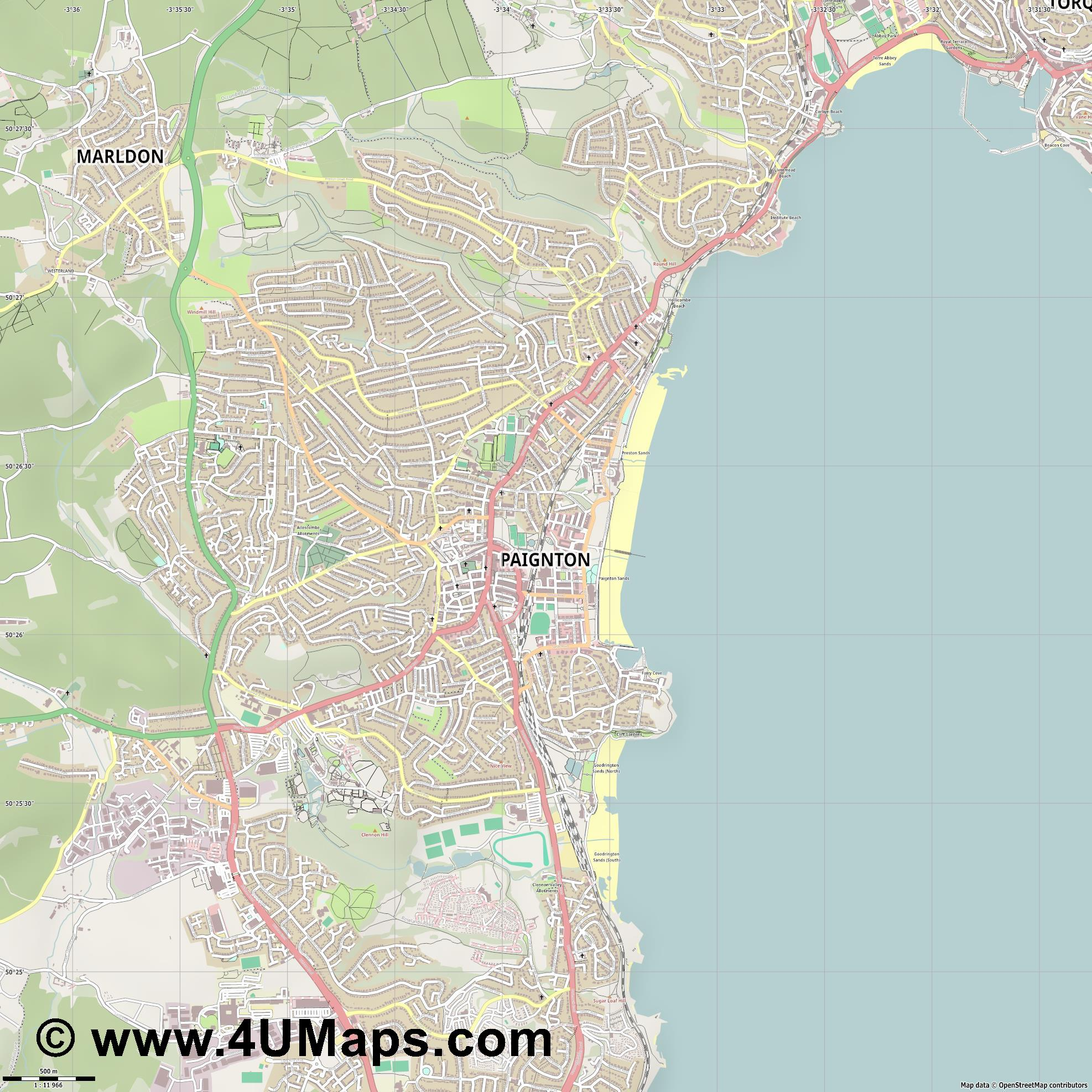Paignton  jpg ultra high detail preview vector city map