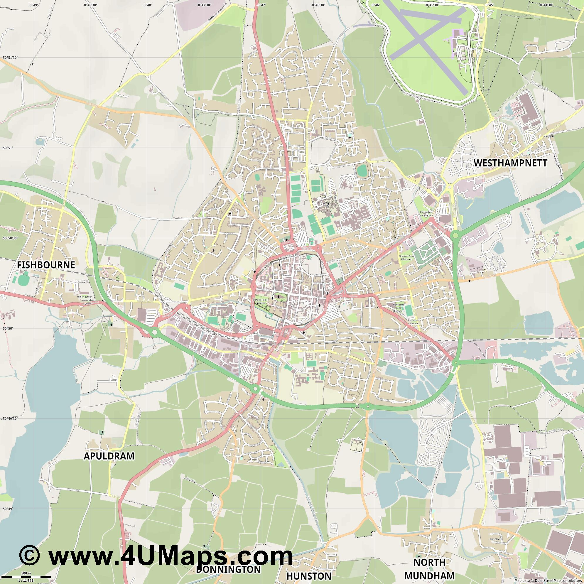 Chichester  jpg ultra high detail preview vector city map