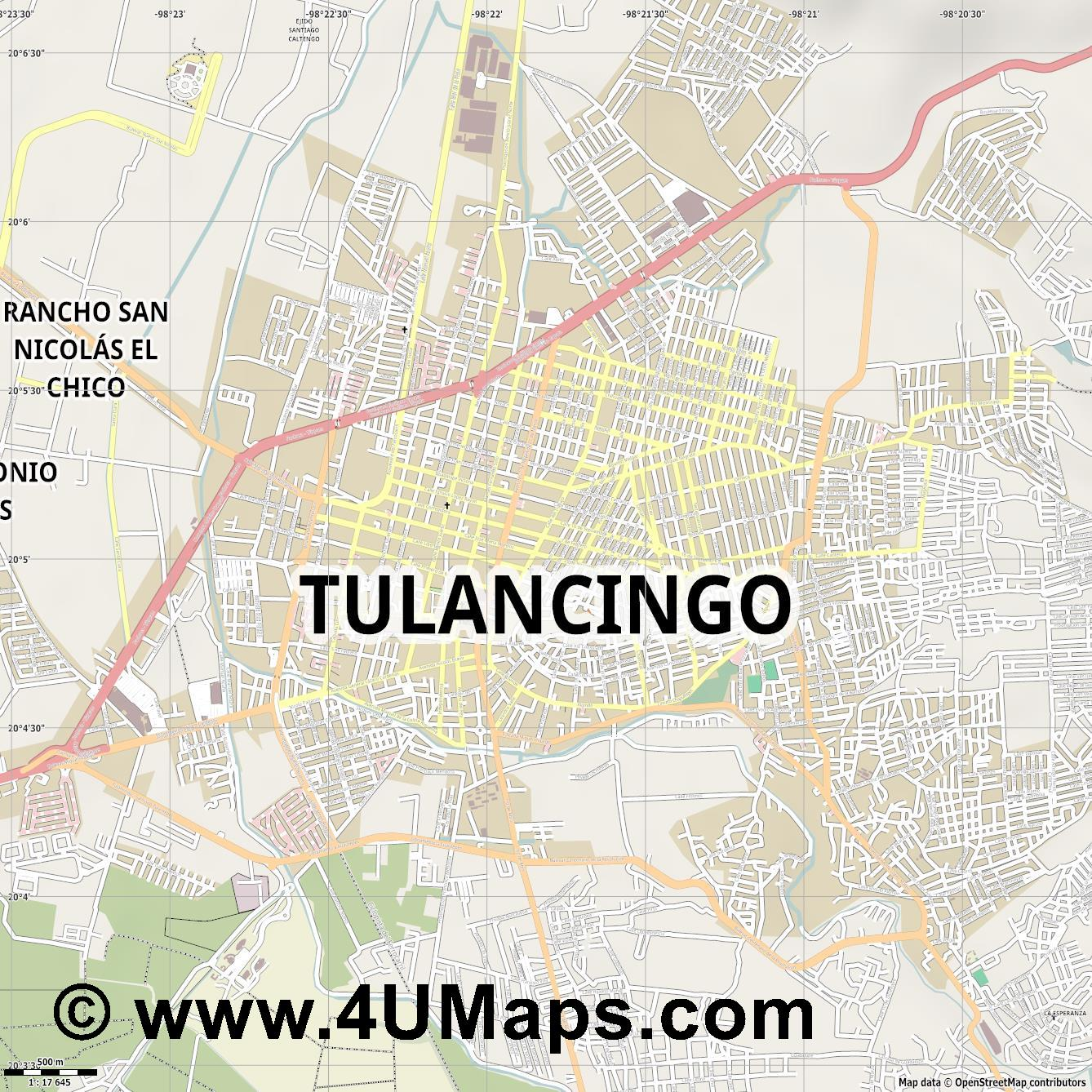 Tulancingo  jpg ultra high detail preview vector city map