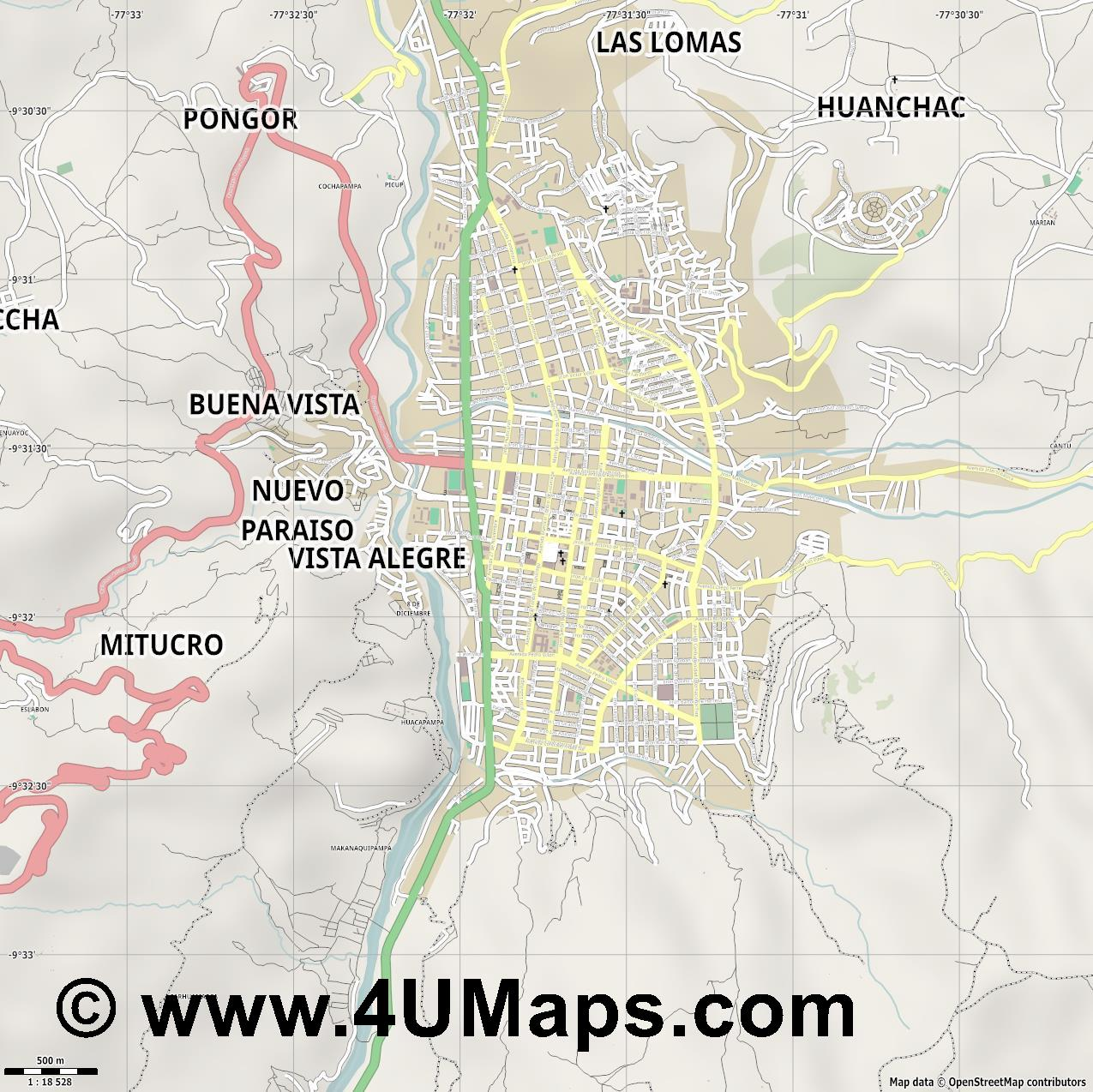 Huaraz  jpg ultra high detail preview vector city map