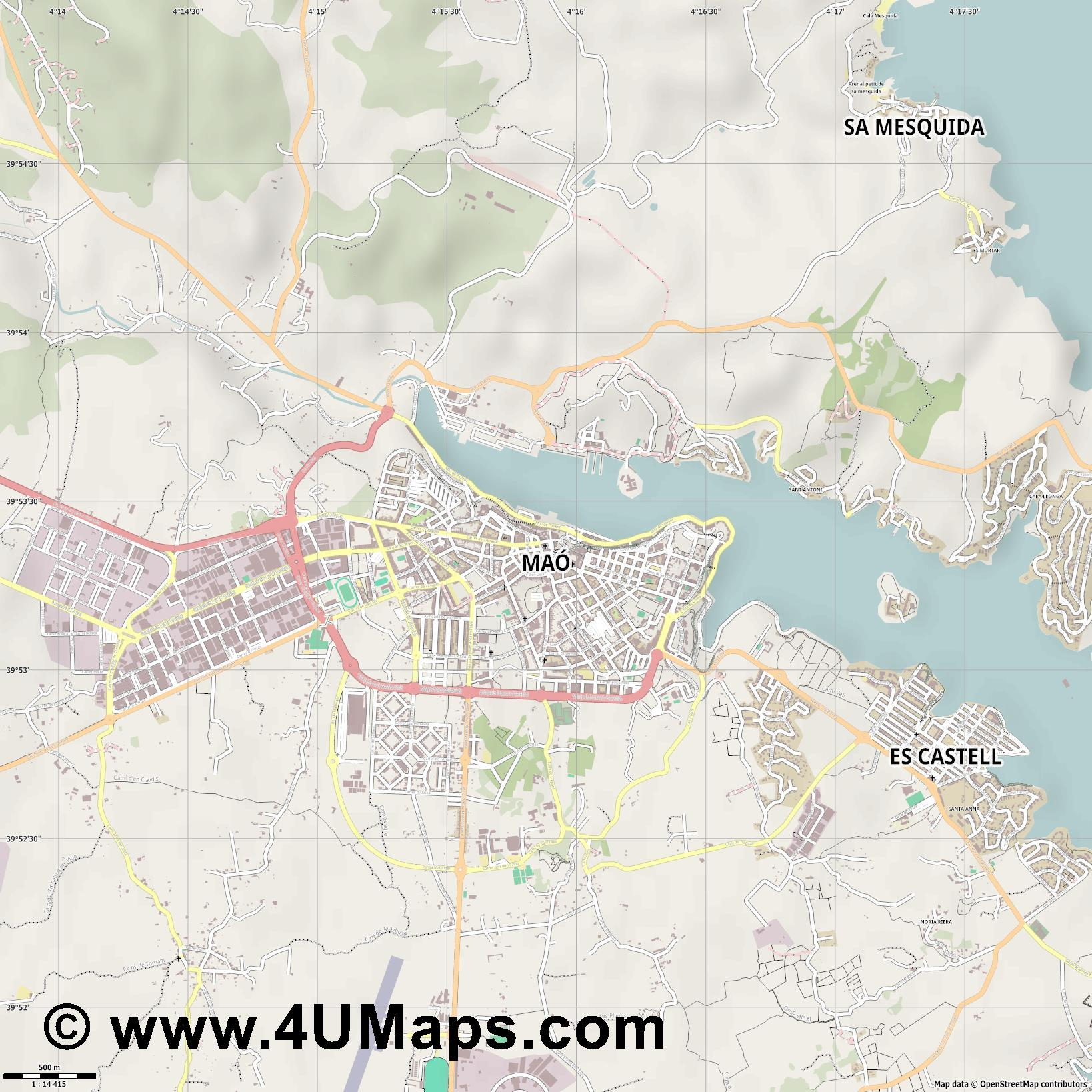 Maó Mahón  jpg ultra high detail preview vector city map
