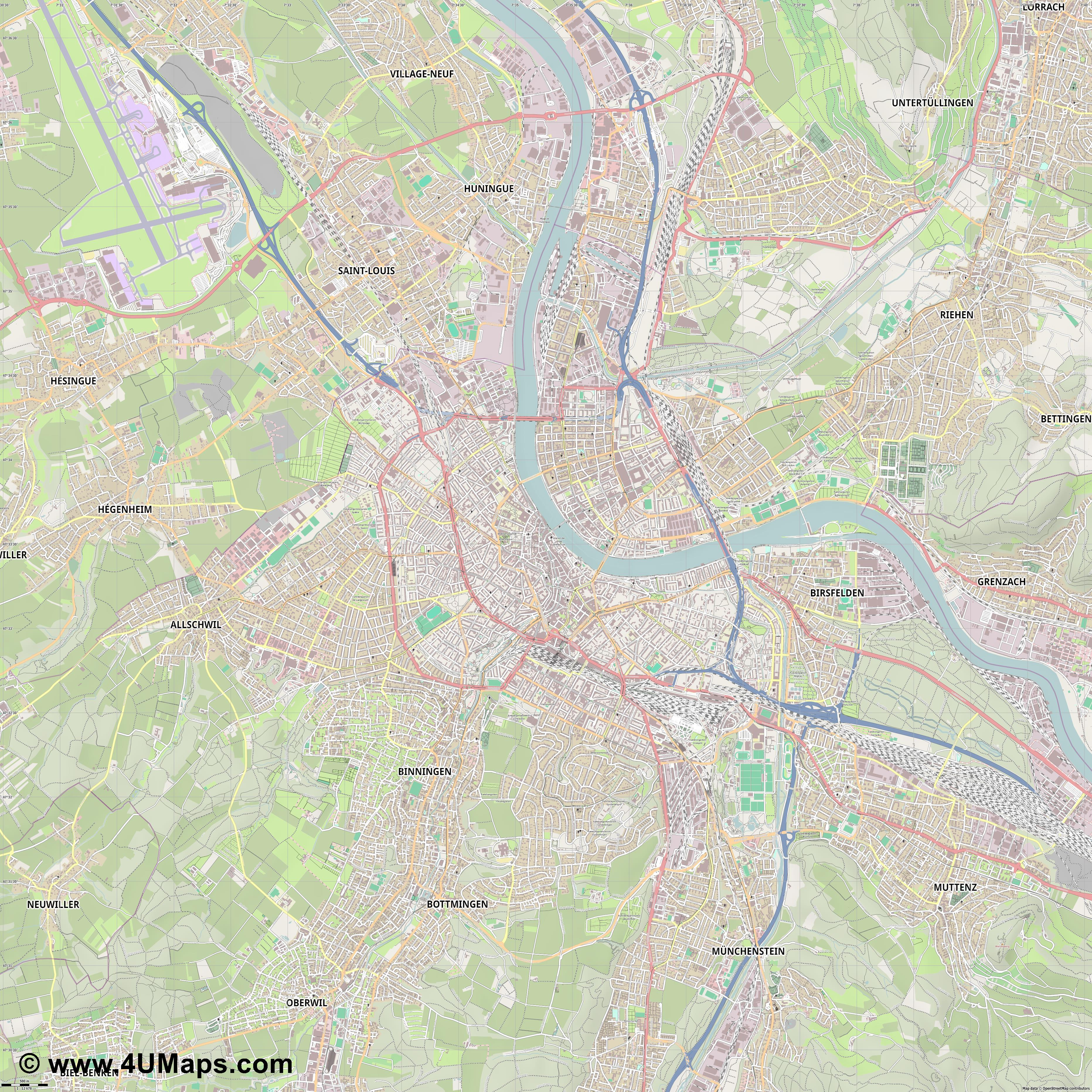 Basel Basilea Bâle  jpg ultra high detail preview vector city map