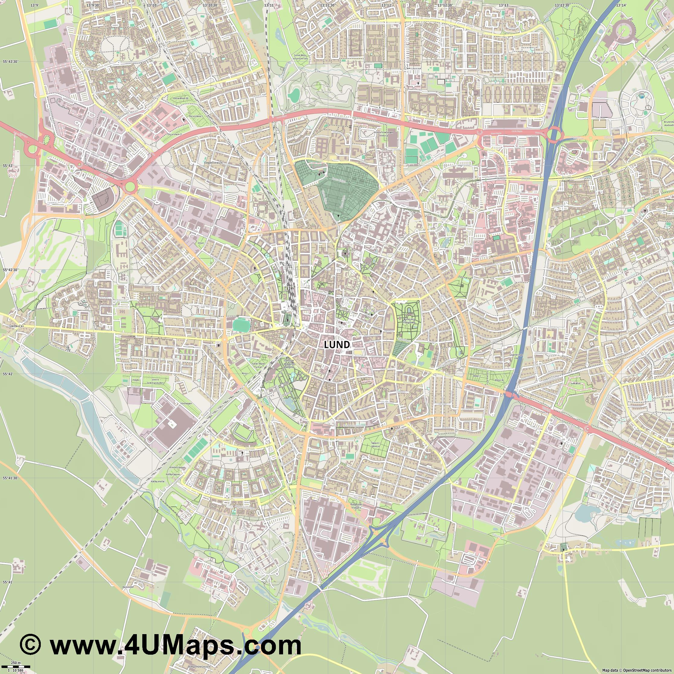 Lund  jpg ultra high detail preview vector city map