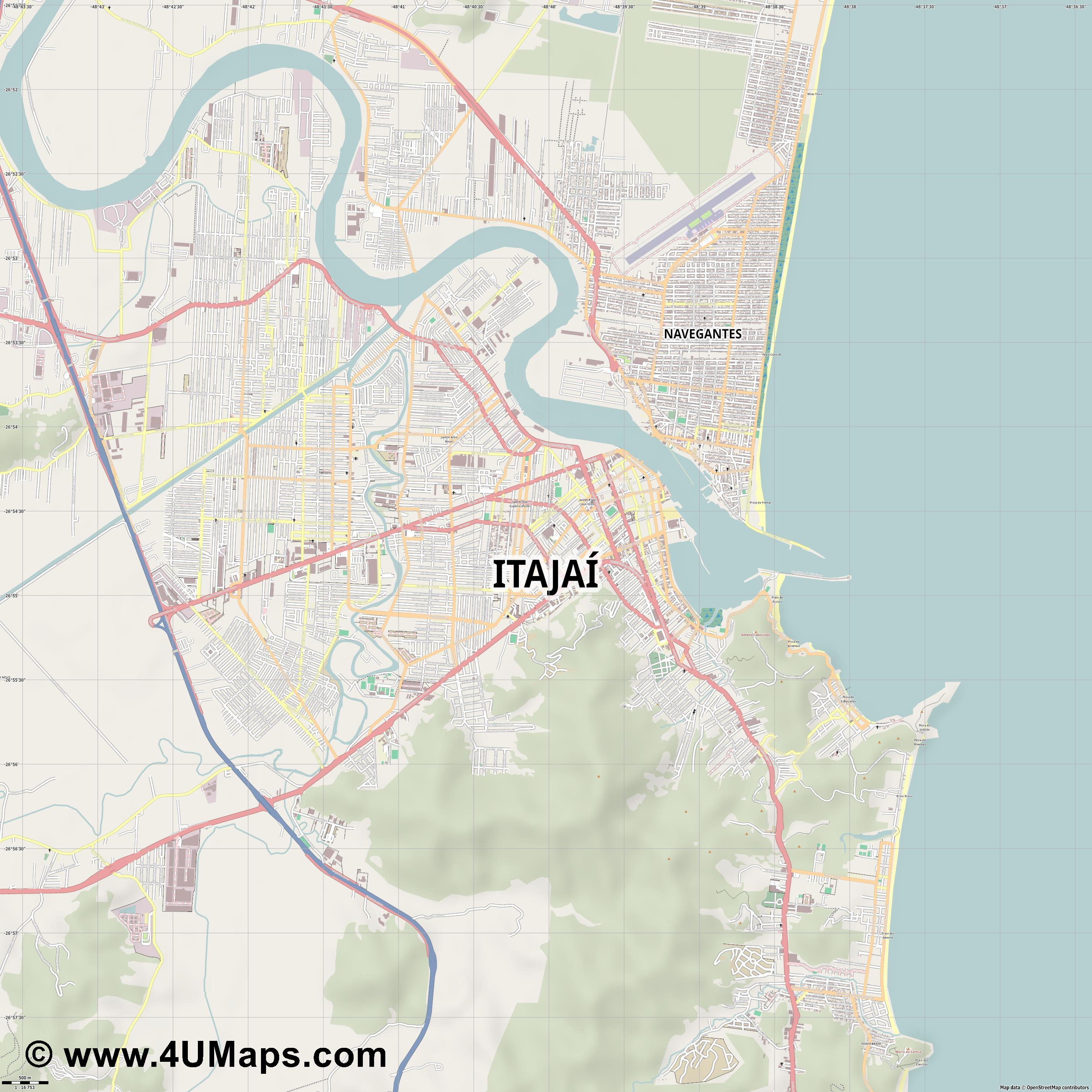 Itajaí  jpg ultra high detail preview vector city map