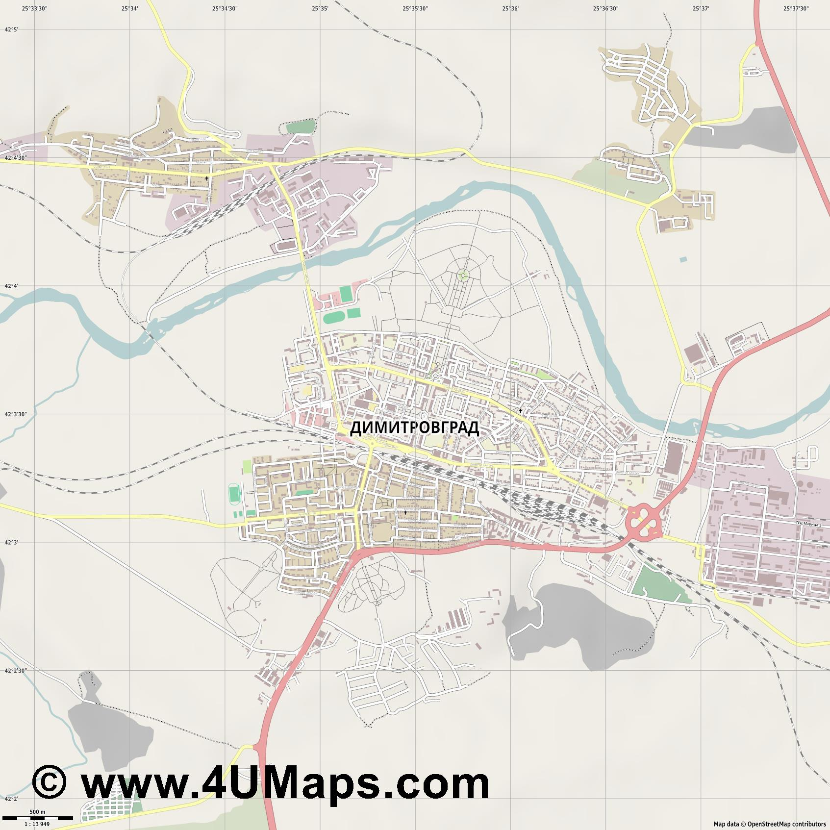Димитровград Dimitrowgrad  jpg ultra high detail preview vector city map