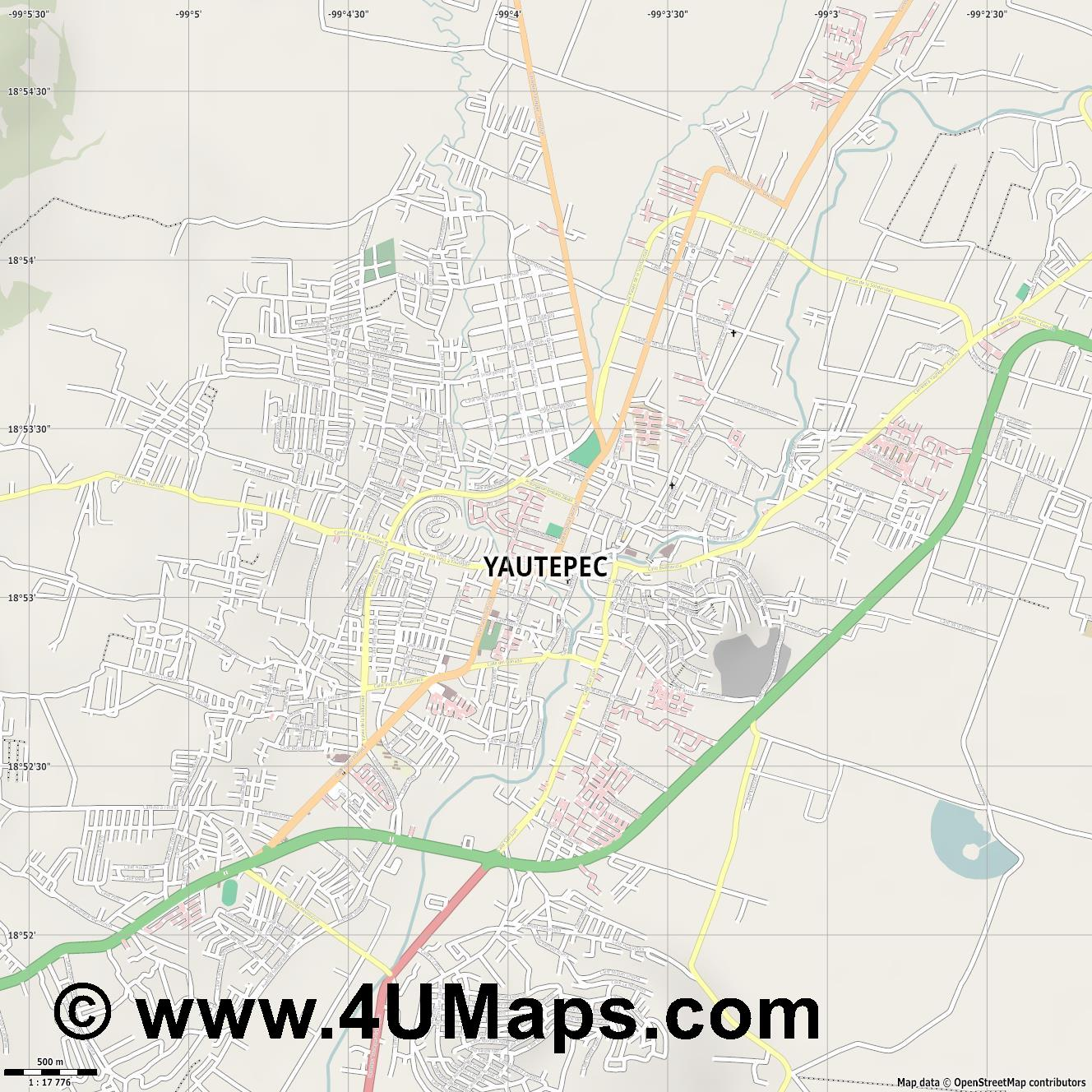 Yautepec  jpg ultra high detail preview vector city map