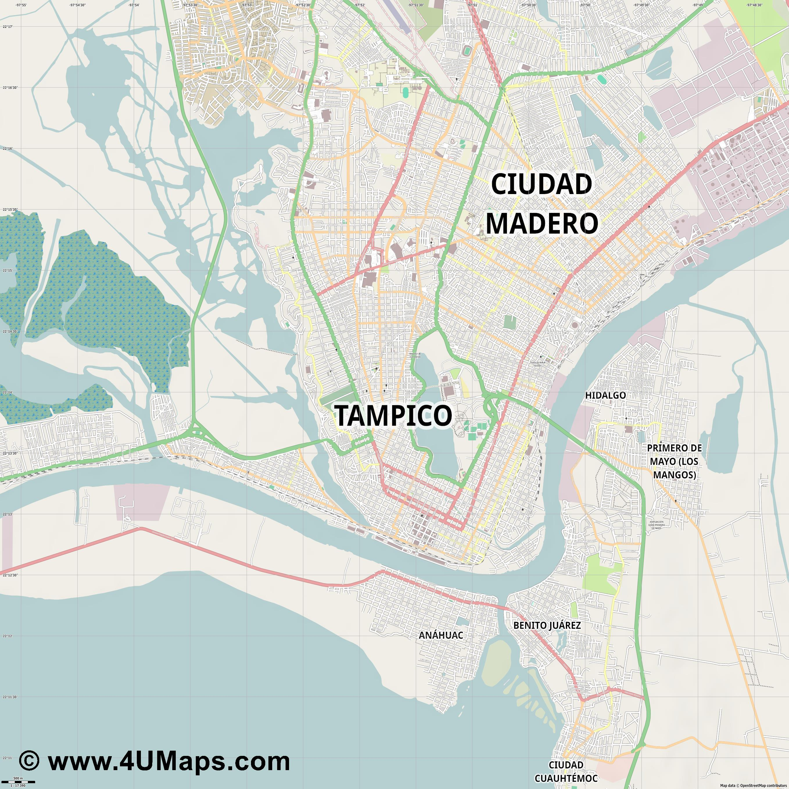 Tampico  jpg ultra high detail preview vector city map