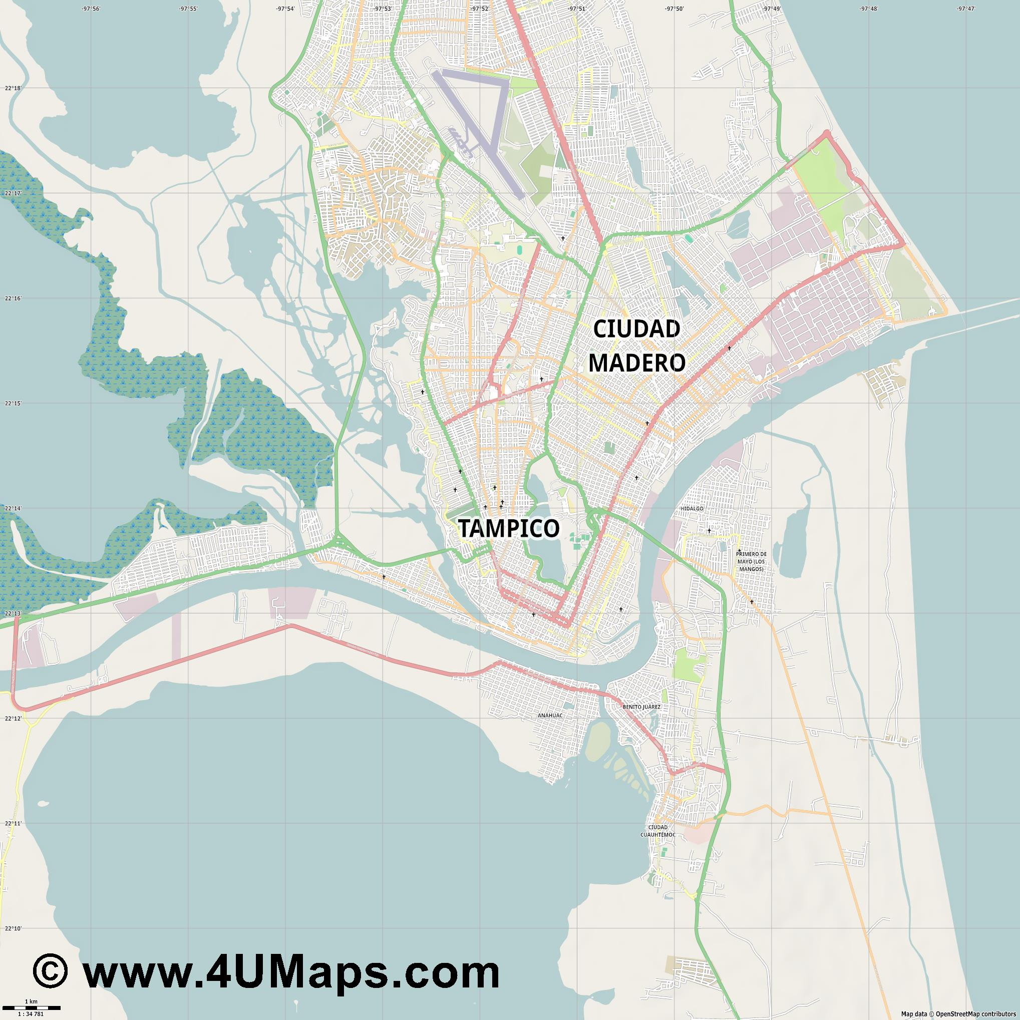Tampico  jpg high detail, large area preview vector city map