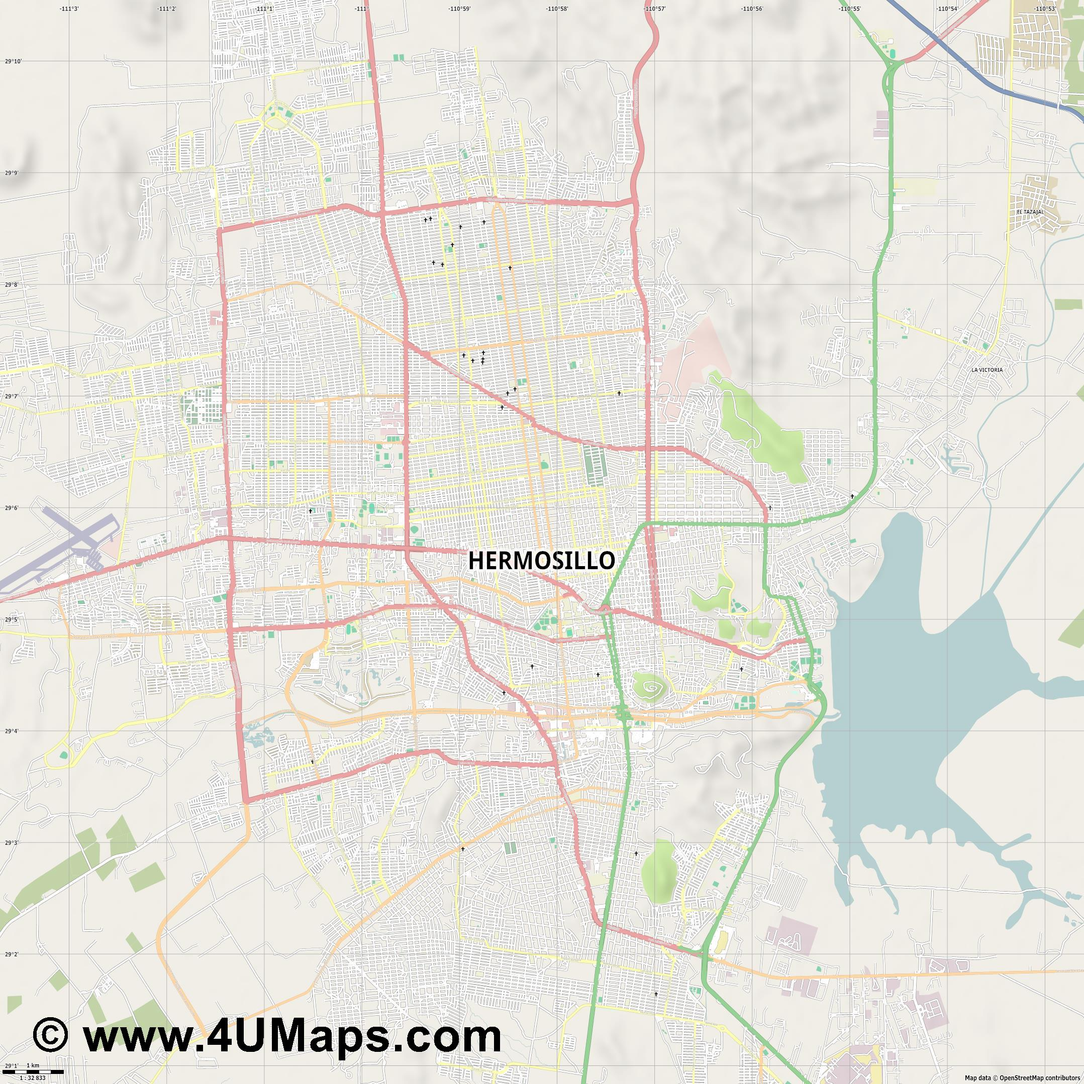 Hermosillo  jpg high detail, large area preview vector city map