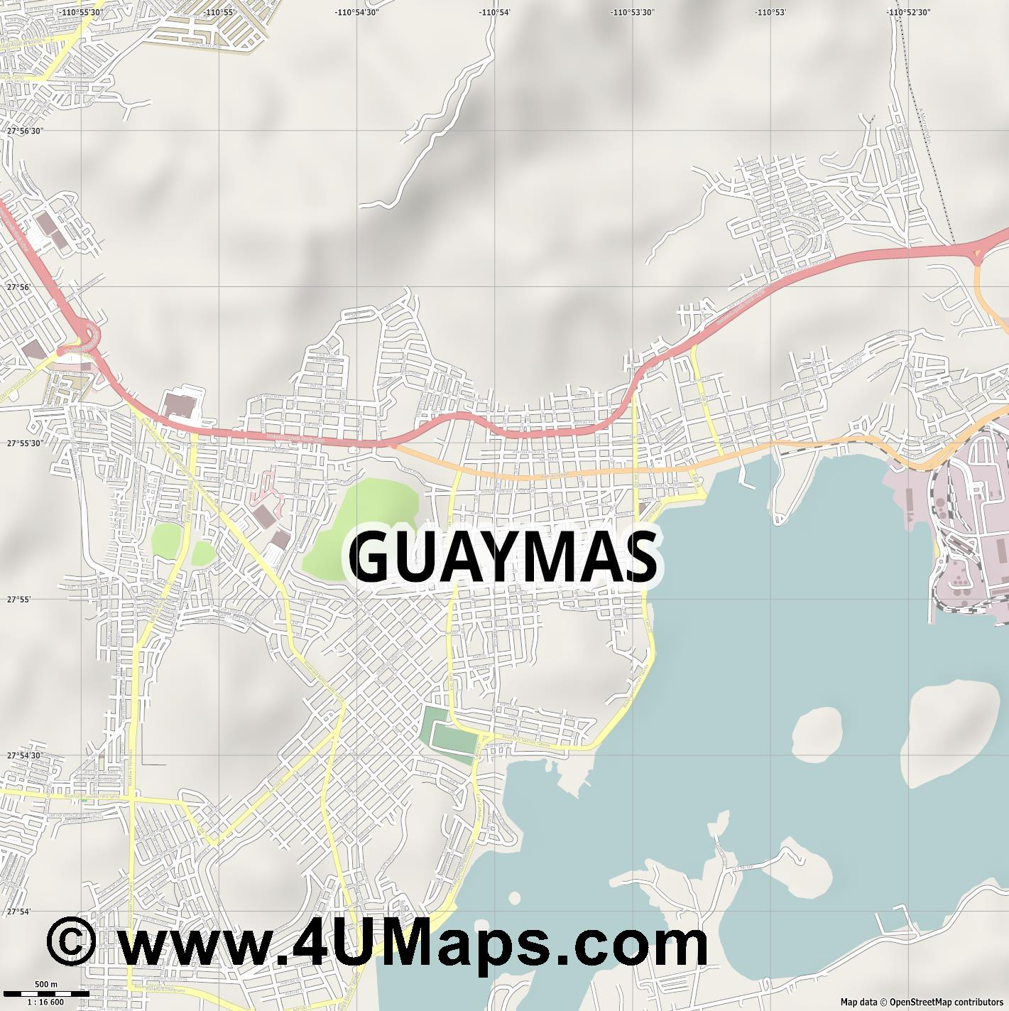 Guaymas  jpg ultra high detail preview vector city map