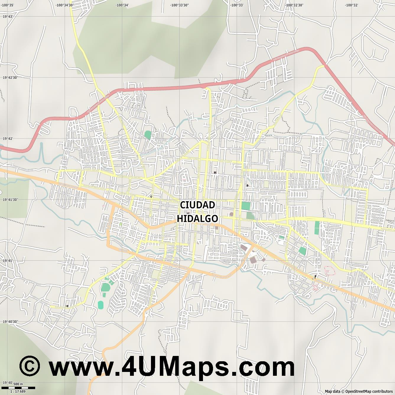 Ciudad Hidalgo  jpg ultra high detail preview vector city map
