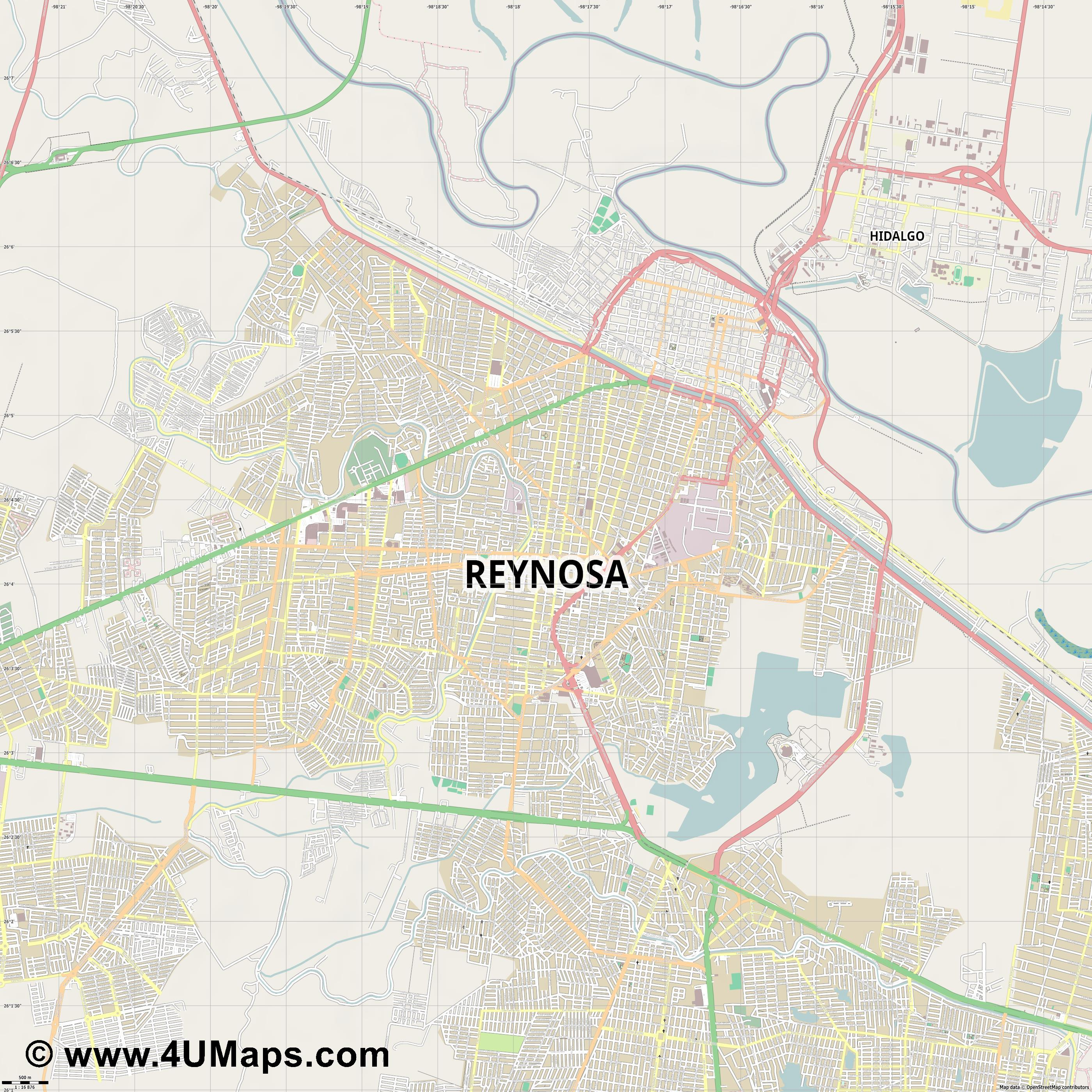 Reynosa  jpg ultra high detail preview vector city map