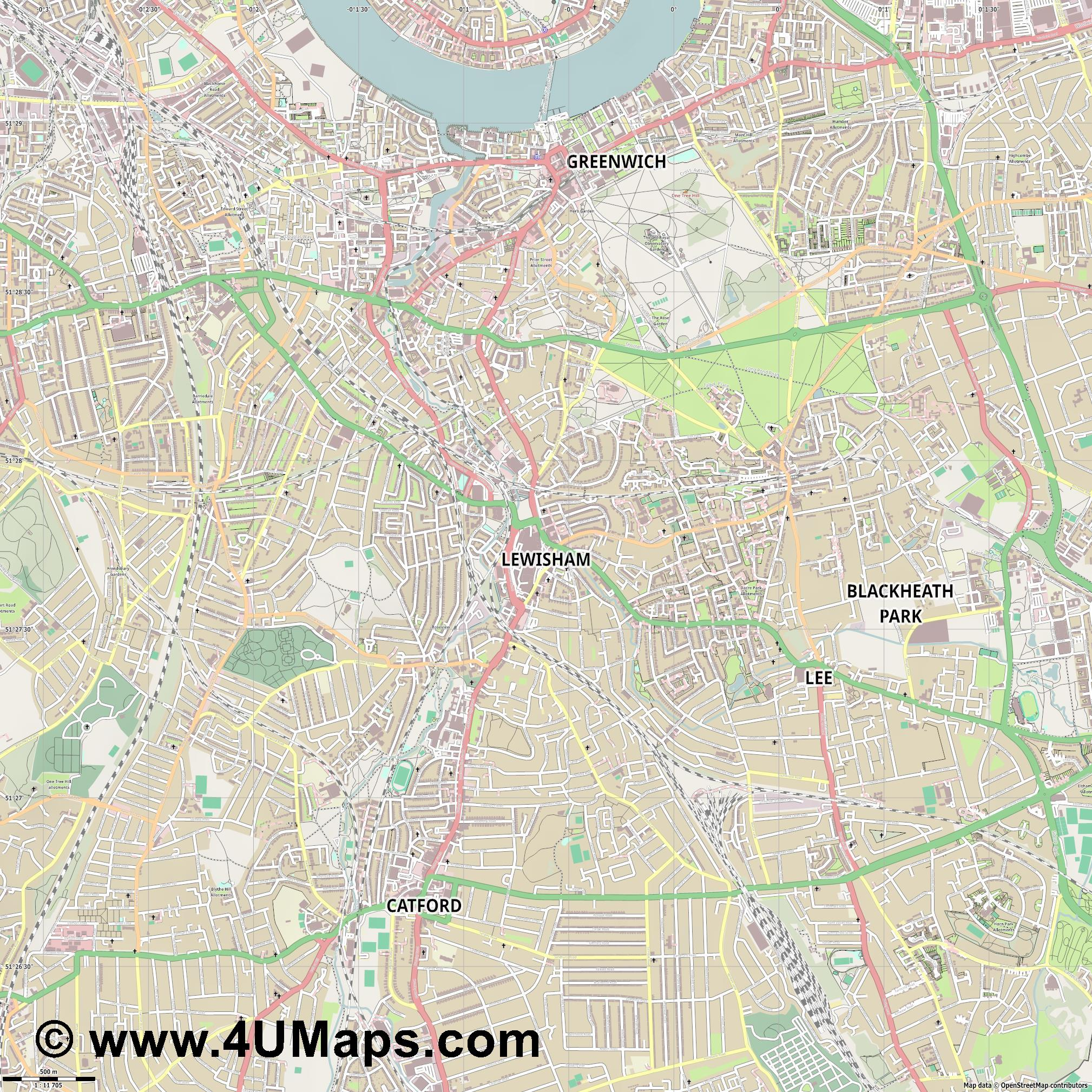 Lewisham  jpg ultra high detail preview vector city map