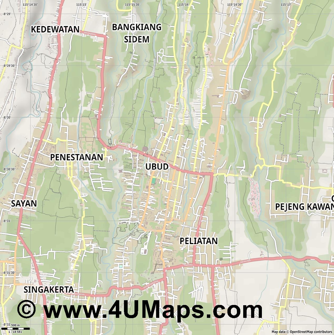 Ubud  jpg ultra high detail preview vector city map