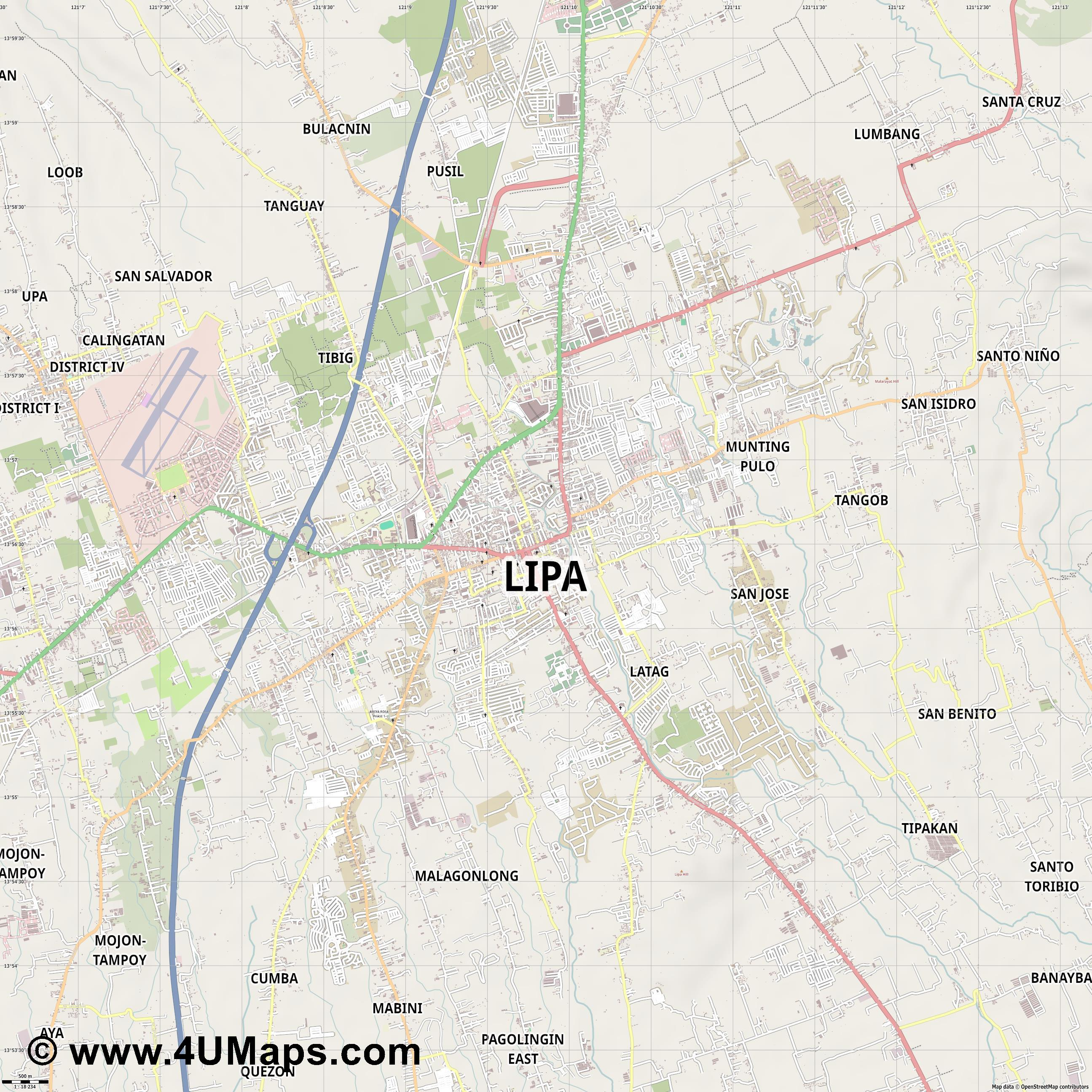 Lipa  jpg ultra high detail preview vector city map