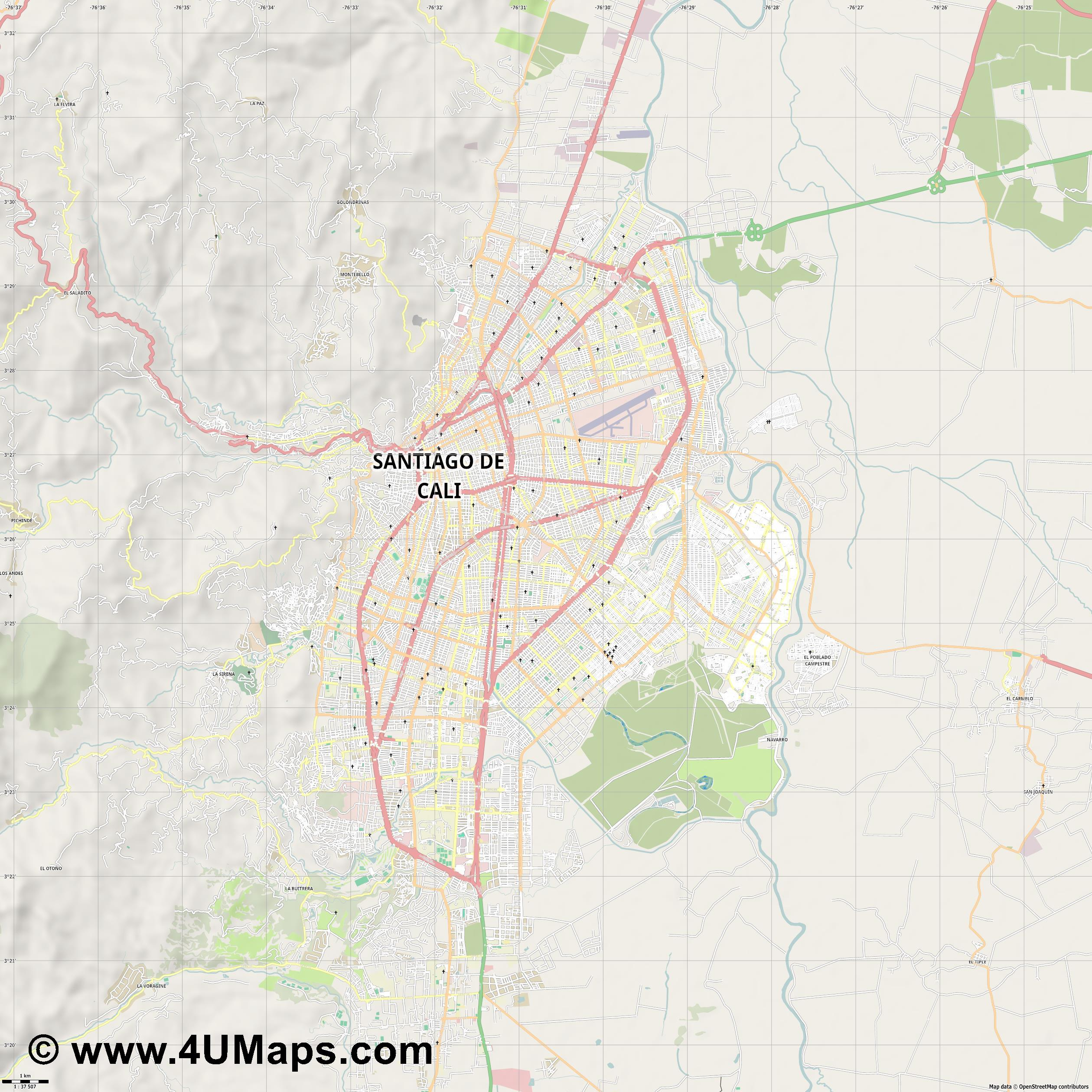 Cali  jpg high detail, large area preview vector city map