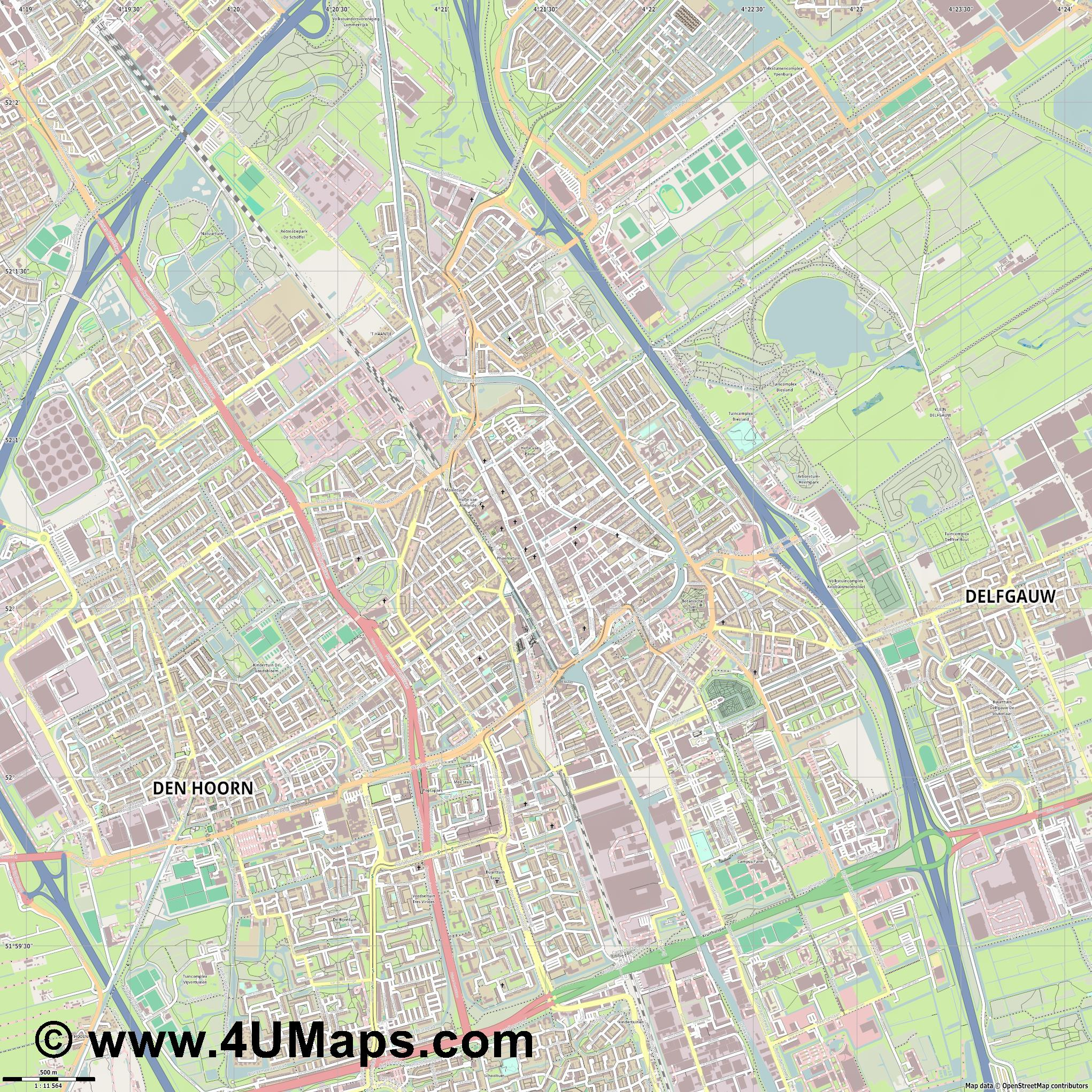 Delft  jpg ultra high detail preview vector city map