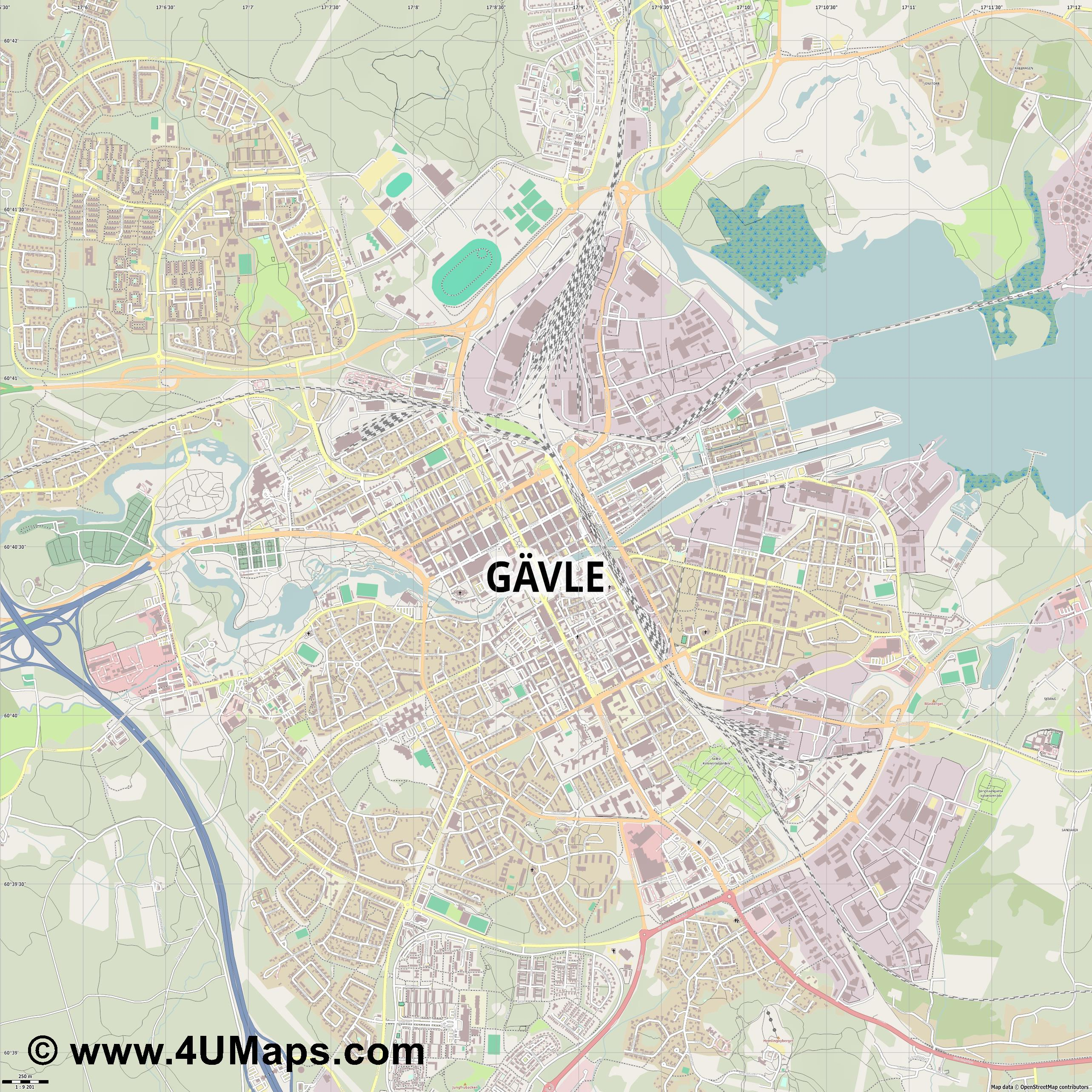 Gävle  jpg ultra high detail preview vector city map
