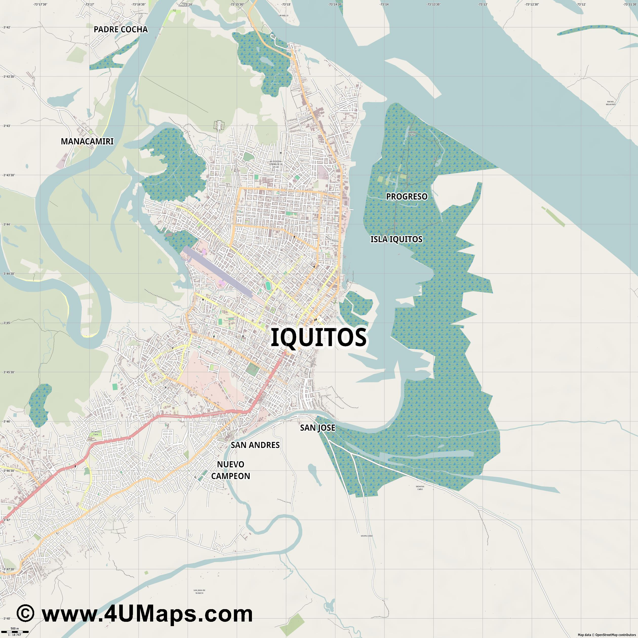 Iquitos  jpg ultra high detail preview vector city map