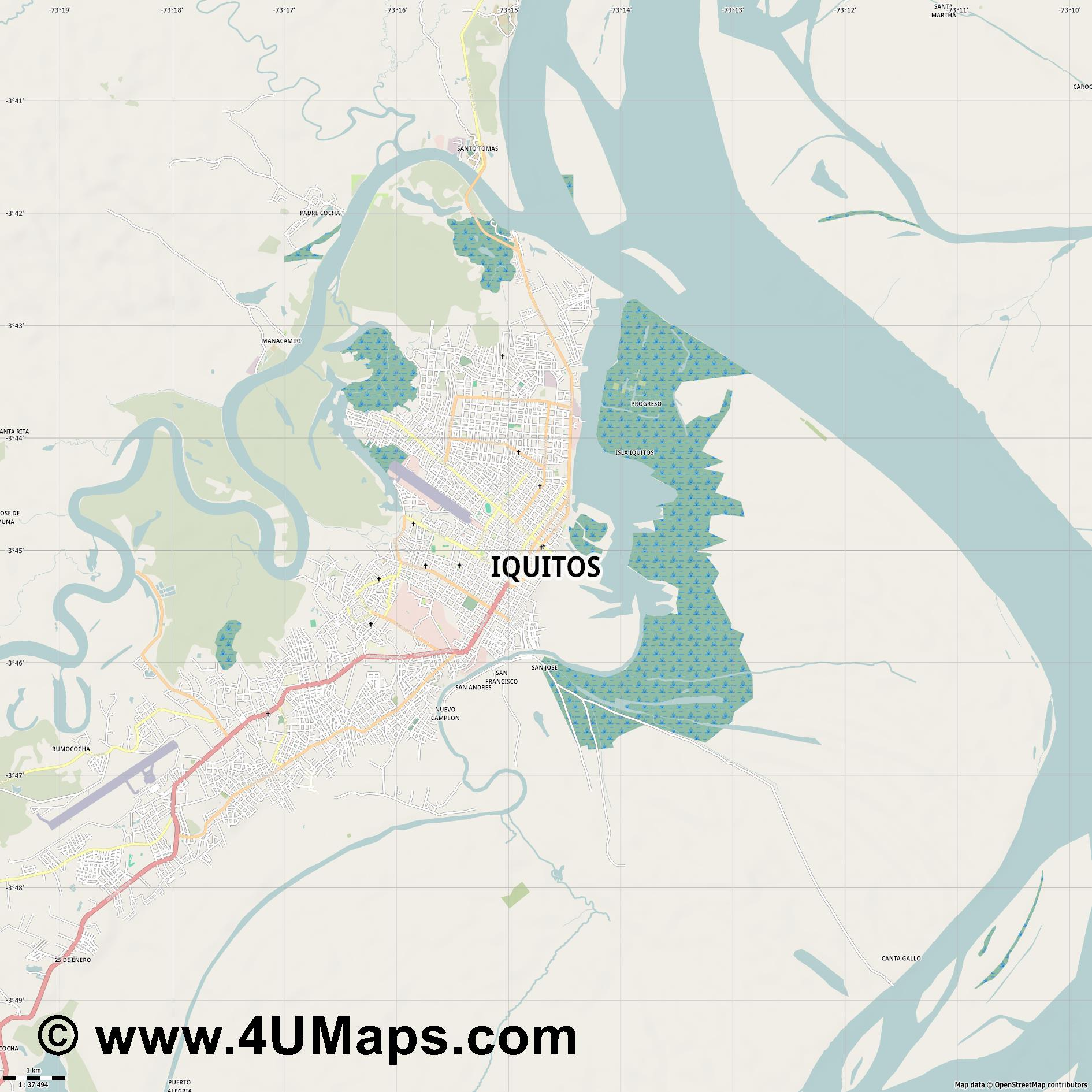 Iquitos  jpg high detail, large area preview vector city map