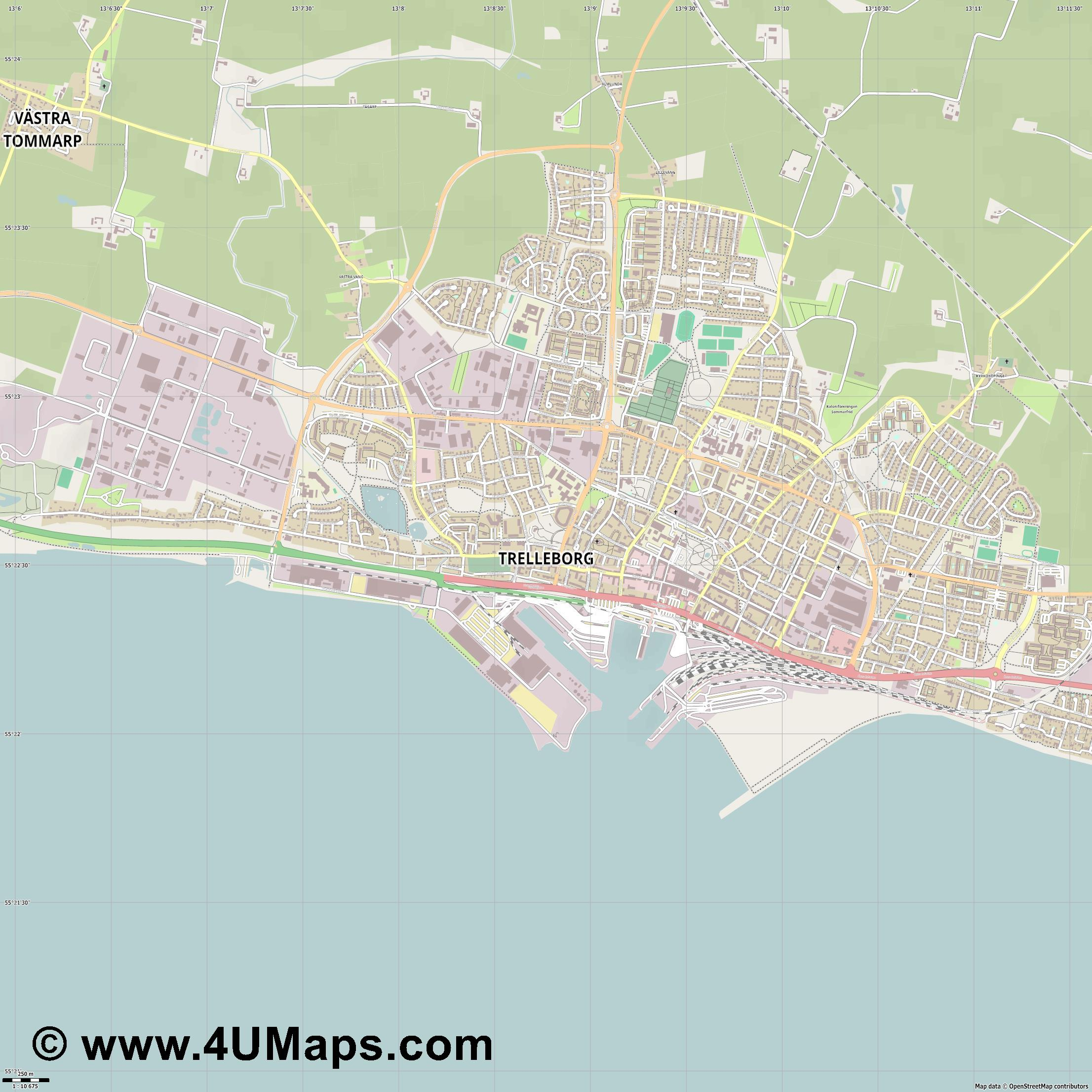 Trelleborg  jpg ultra high detail preview vector city map
