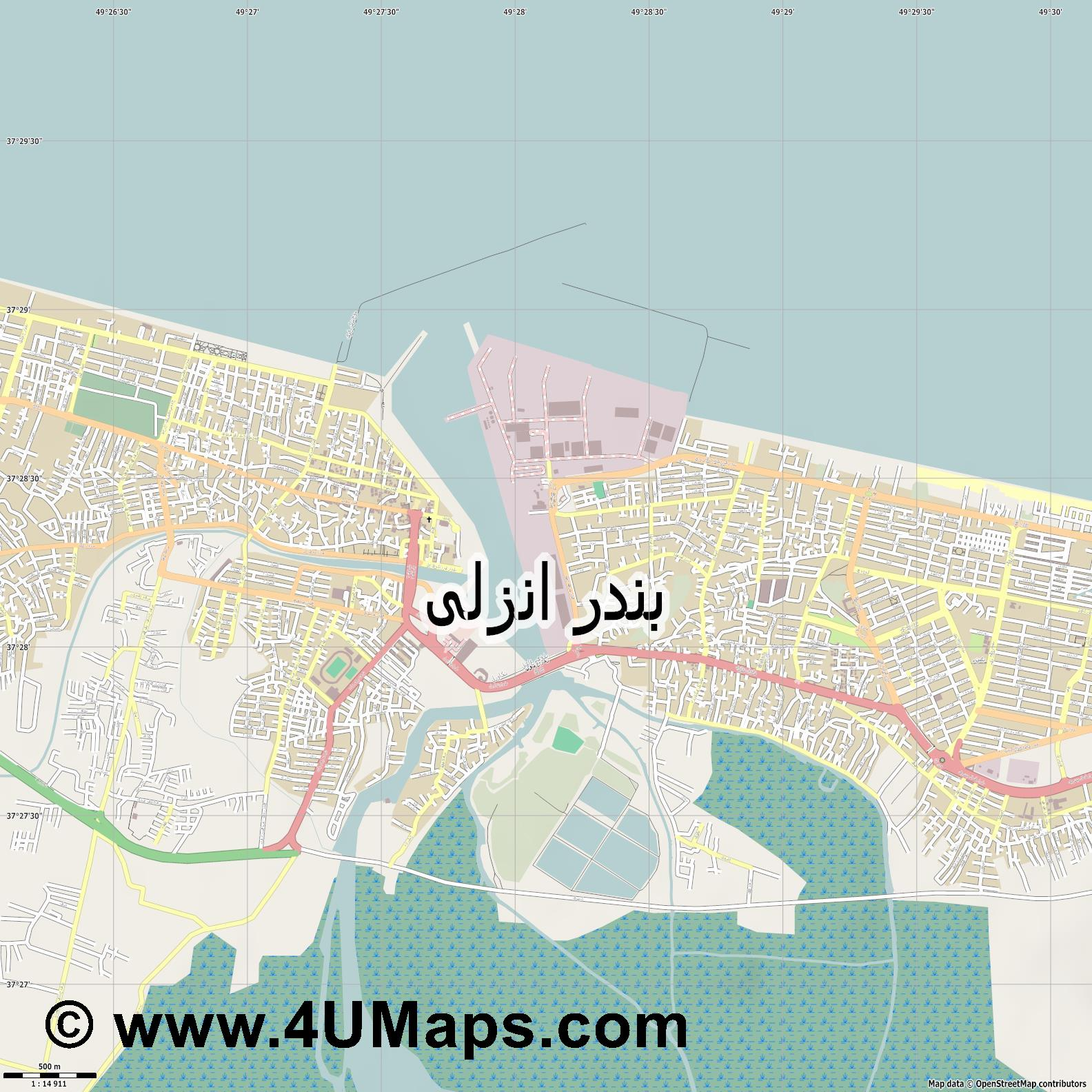بندر انزلی Anzali Port  jpg ultra high detail preview vector city map