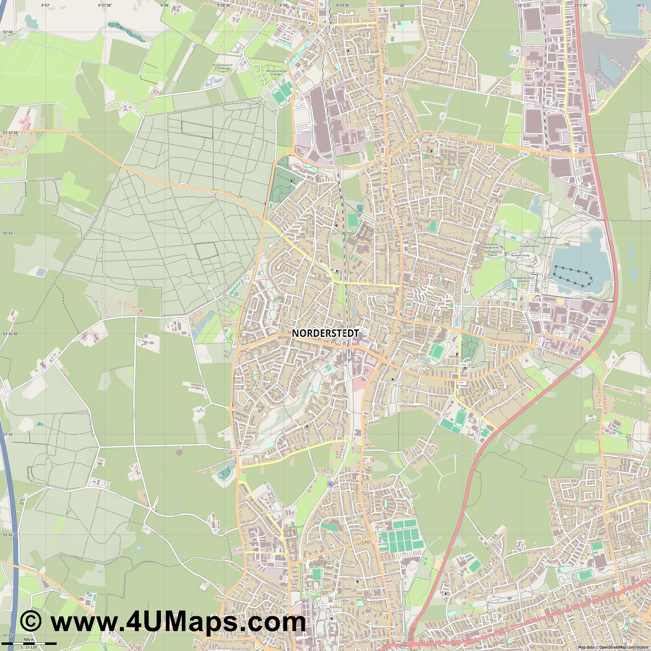 Norderstedt  jpg ultra high detail preview vector city map