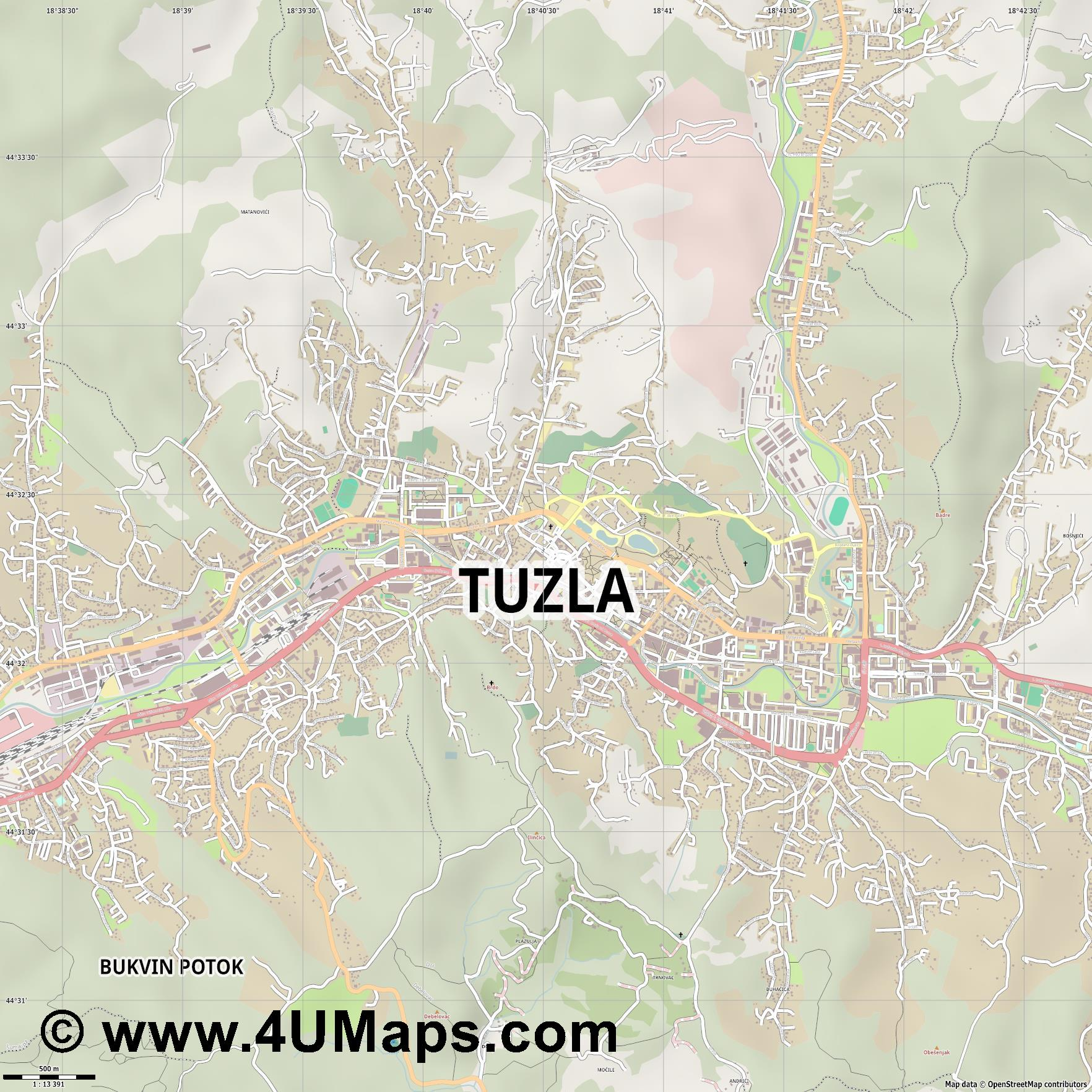 Tuzla  jpg ultra high detail preview vector city map