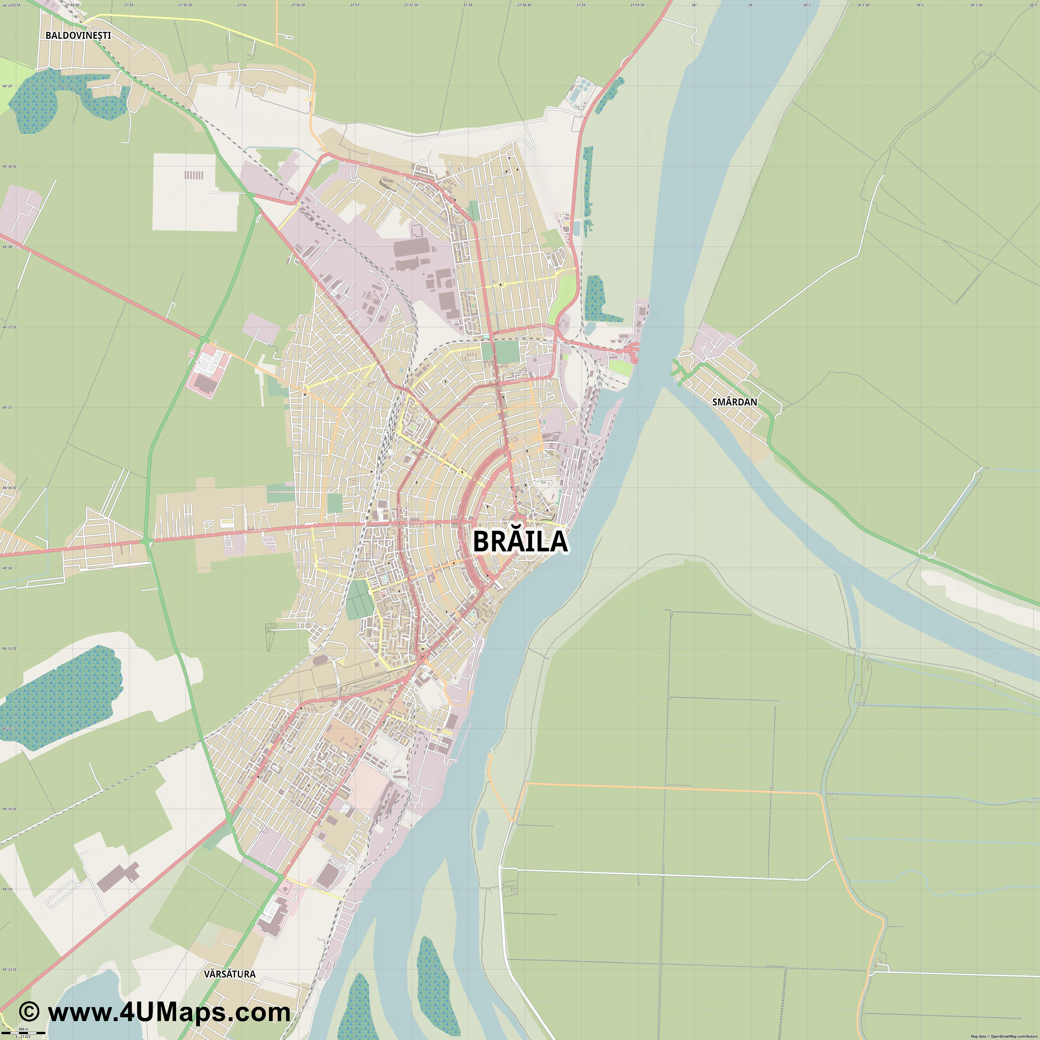 Brăila  jpg ultra high detail preview vector city map