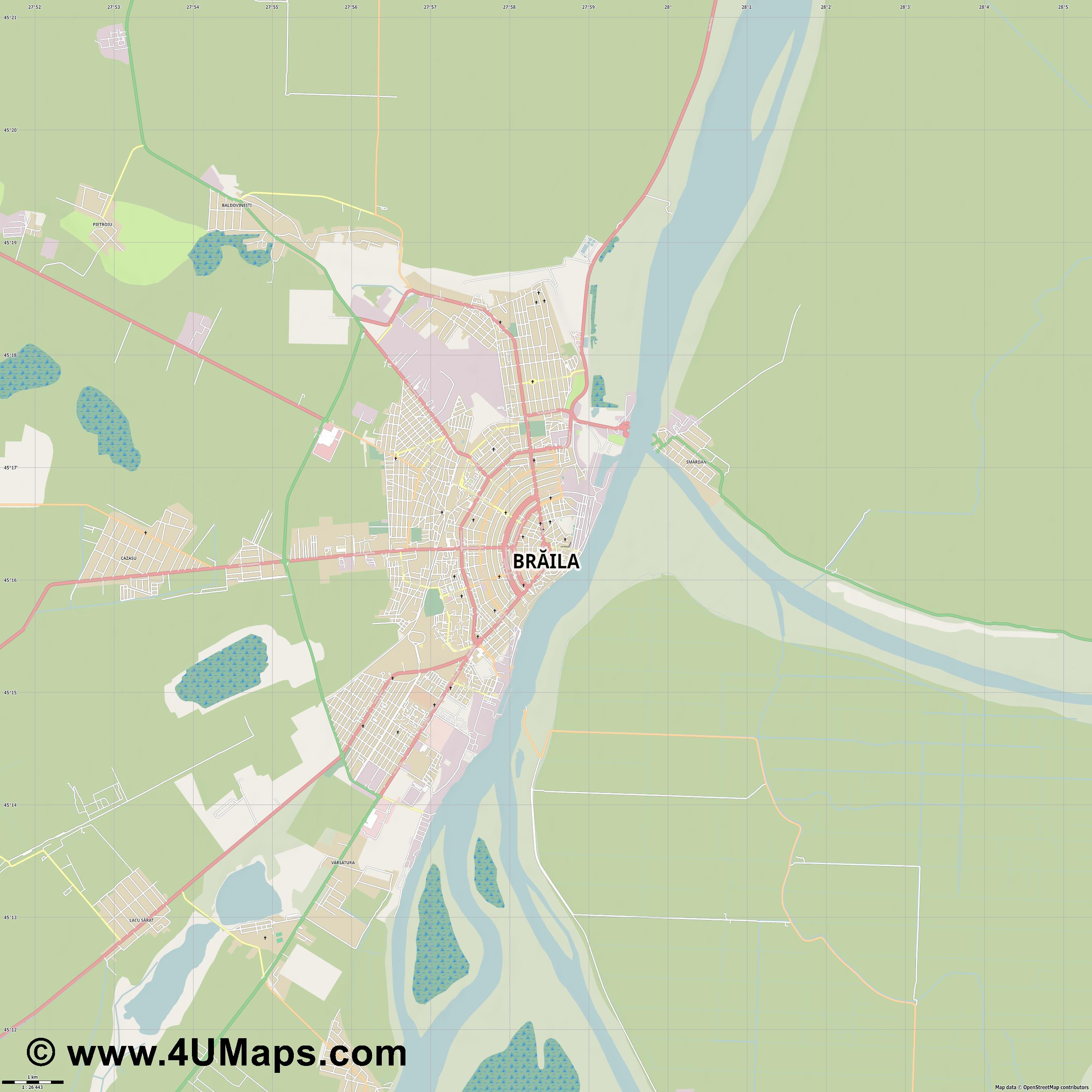 Brăila  jpg high detail, large area preview vector city map