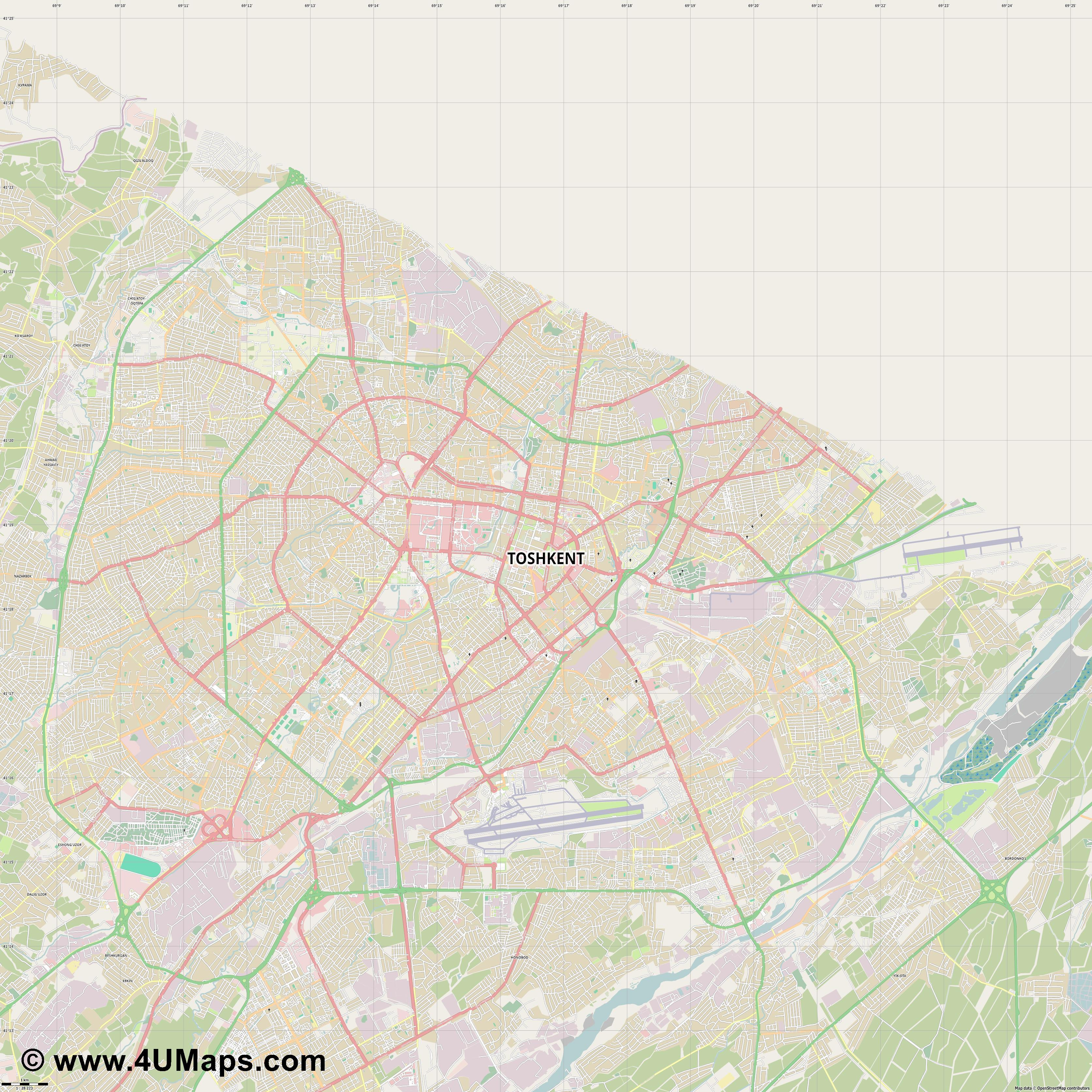 Toshkent Tashkent Taskent Tachkent Taschkent  jpg high detail, large area preview vector city map