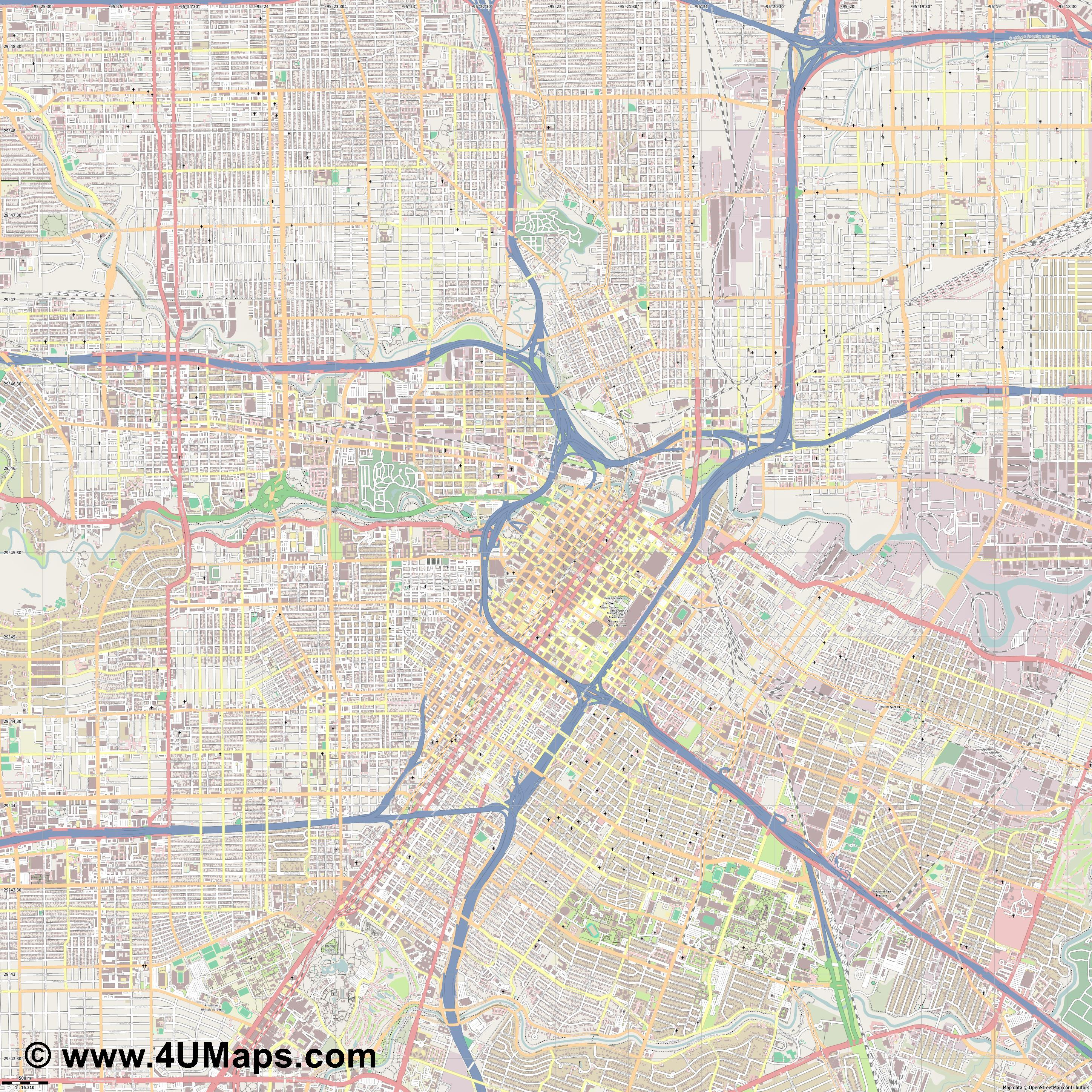 Houston  jpg ultra high detail preview vector city map