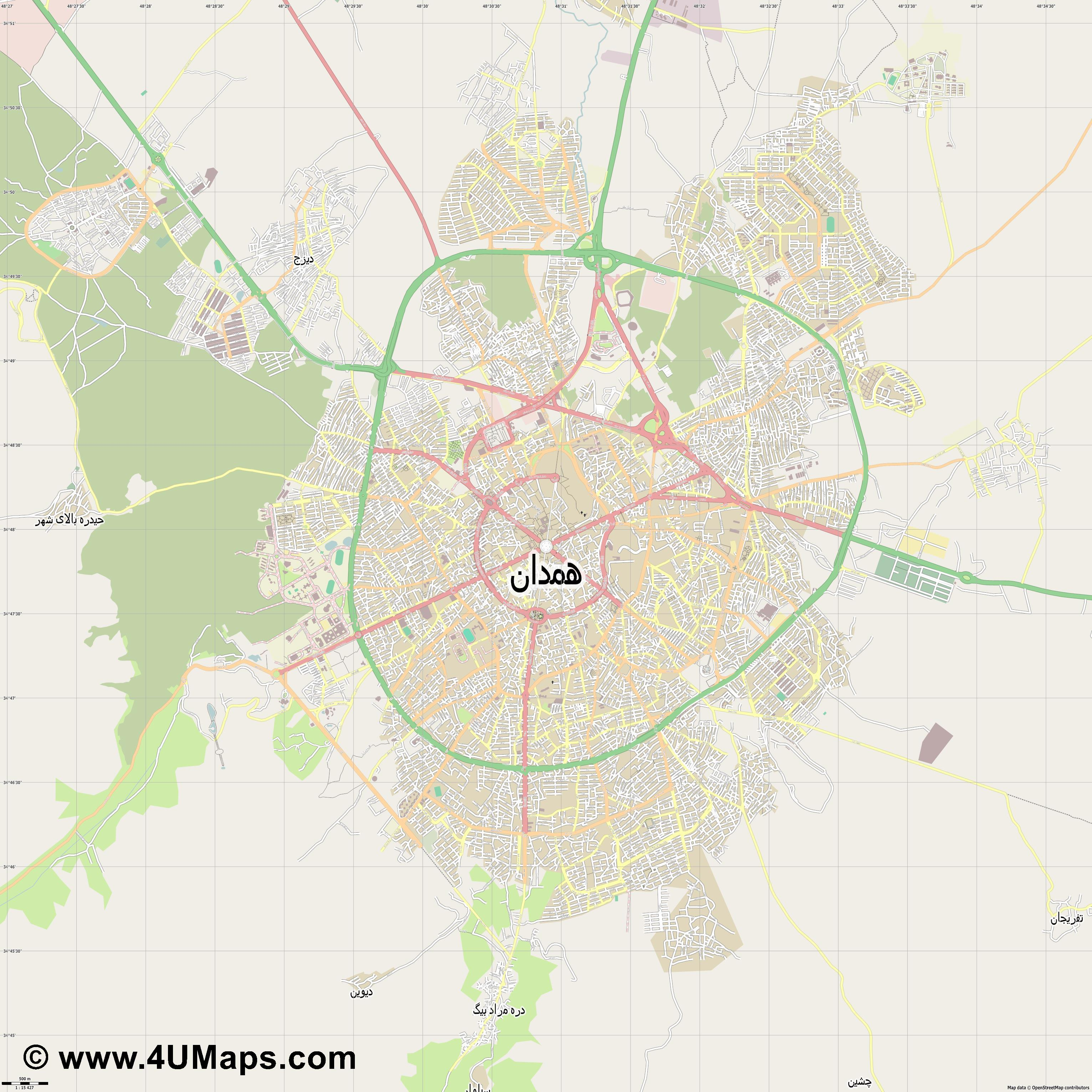 همدان Hamedan  jpg ultra high detail preview vector city map
