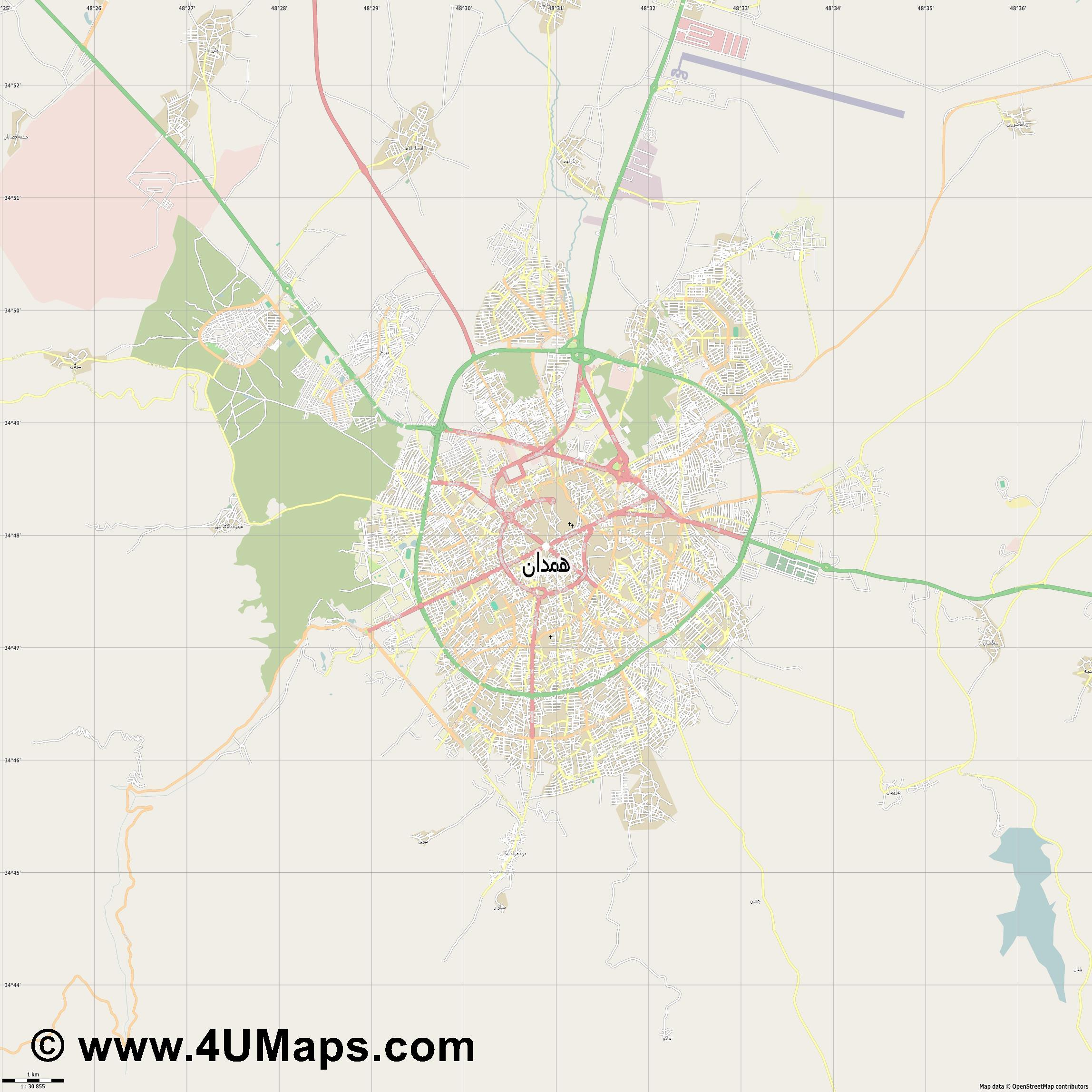 همدان Hamedan  jpg high detail, large area preview vector city map