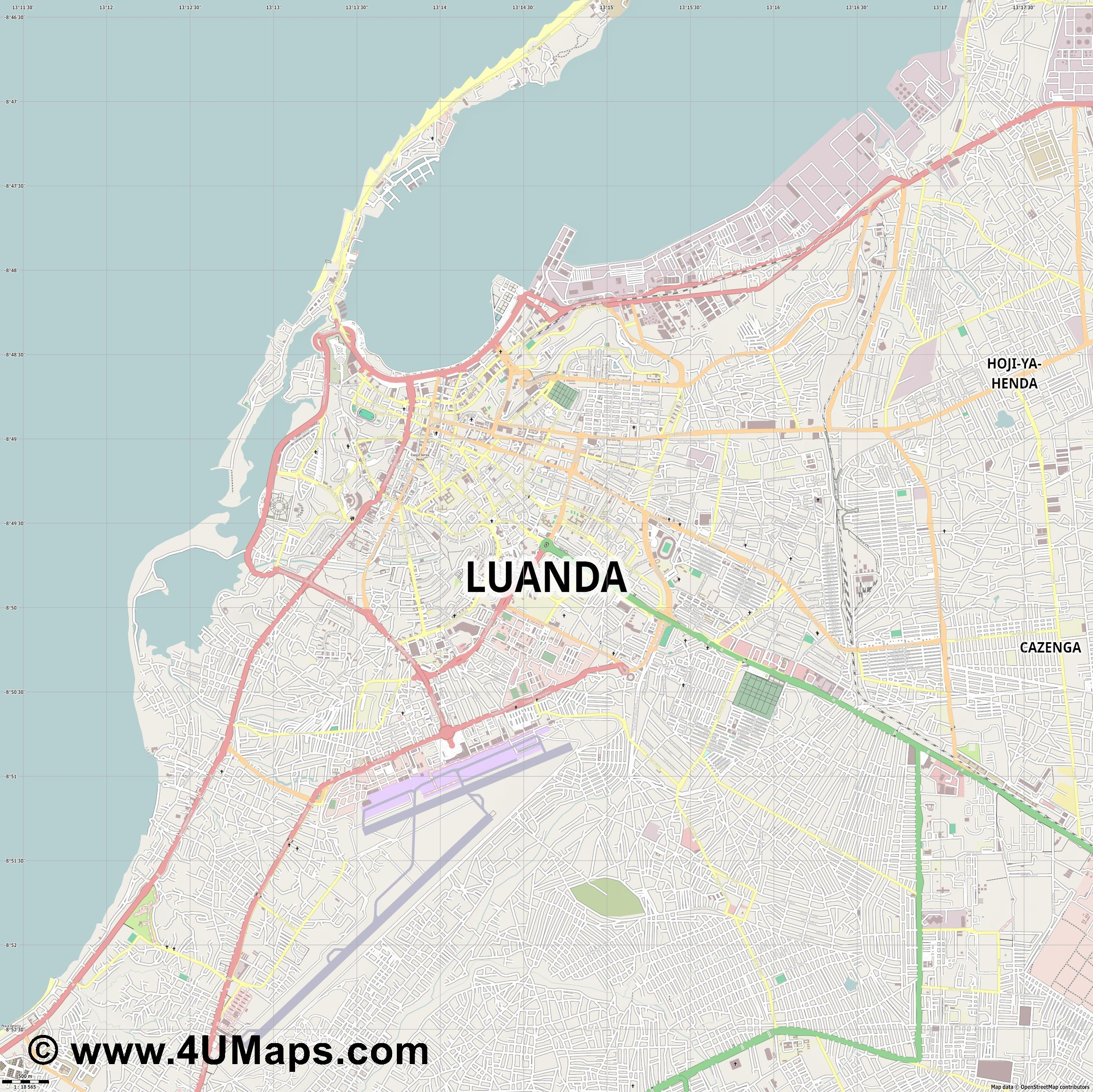 PDF Svg Scalable Vector City Map Luanda