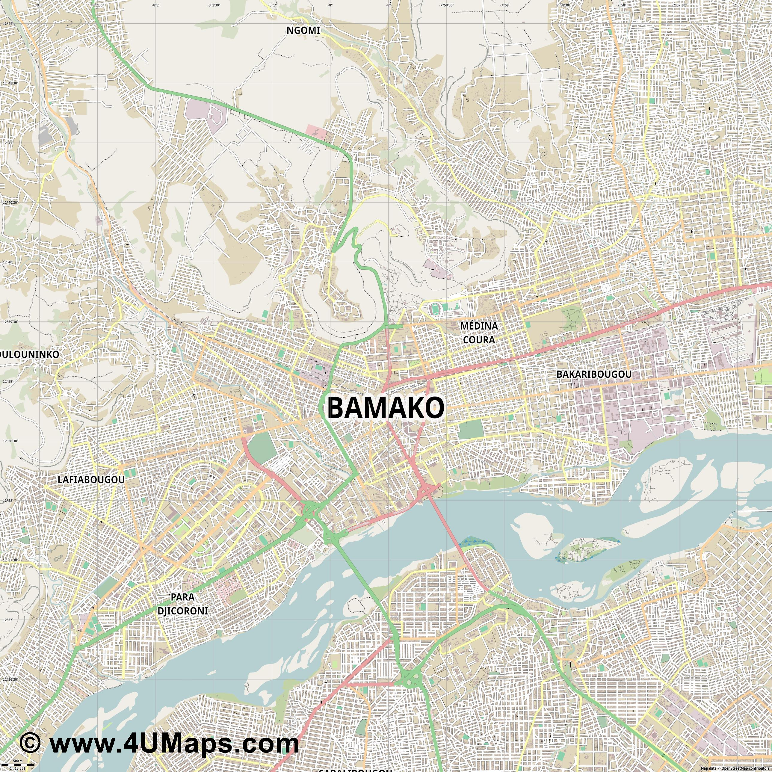 Bamako  jpg ultra high detail preview vector city map