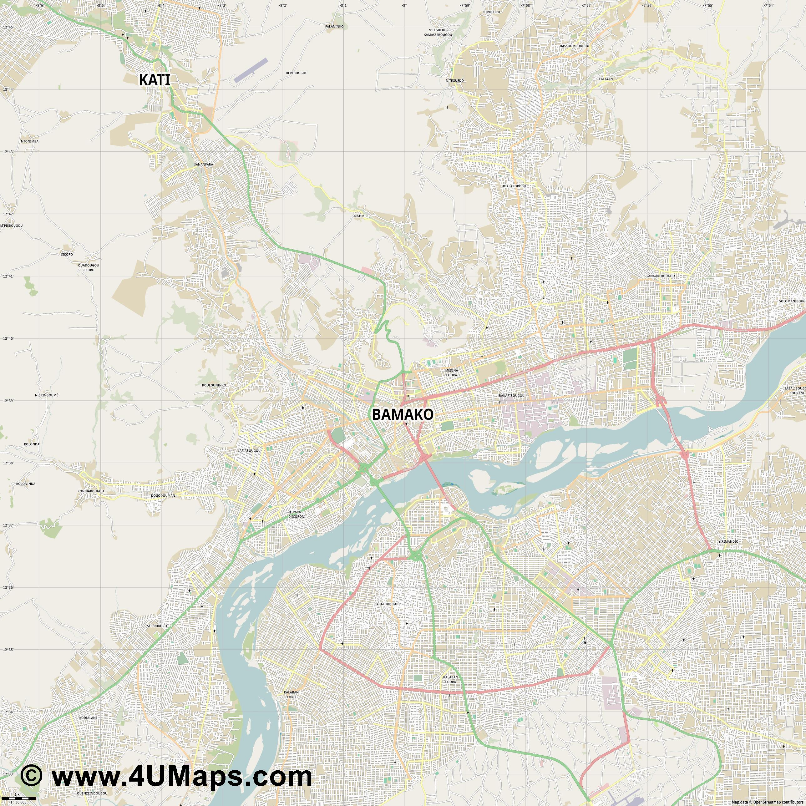 Bamako  jpg high detail, large area preview vector city map