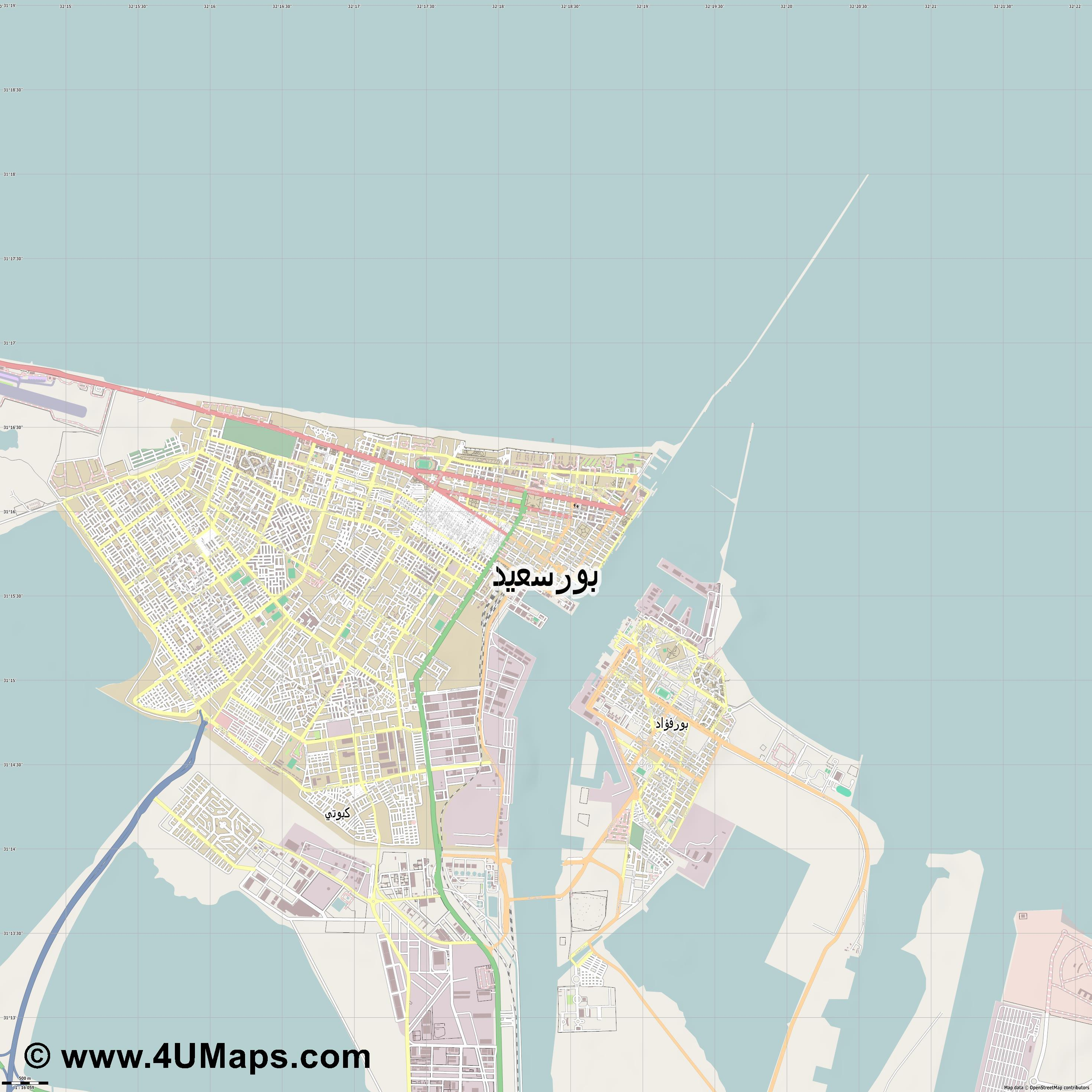 بور سعيد Port Said Port Saïd  jpg ultra high detail preview vector city map