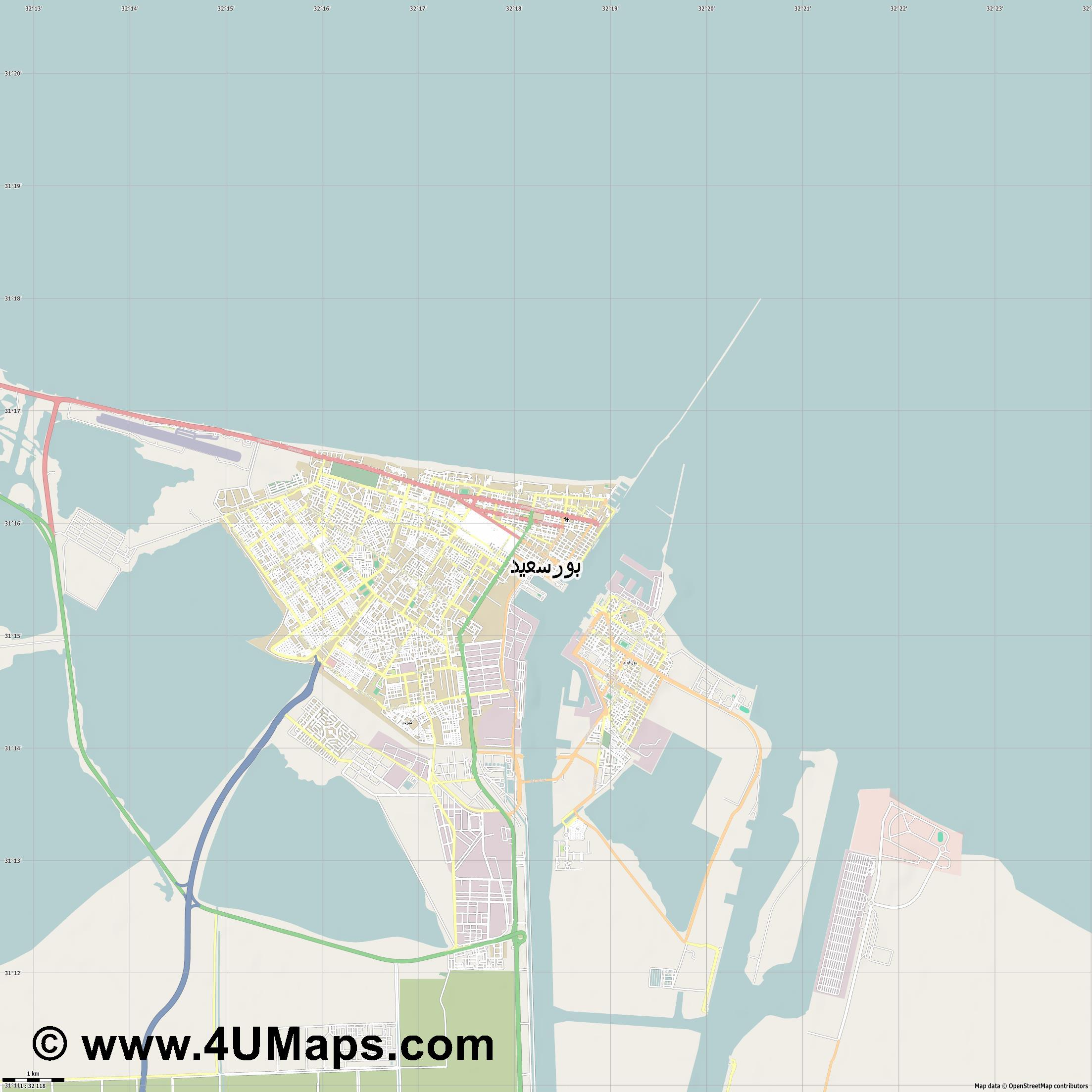 بور سعيد Port Said Port Saïd  jpg high detail, large area preview vector city map