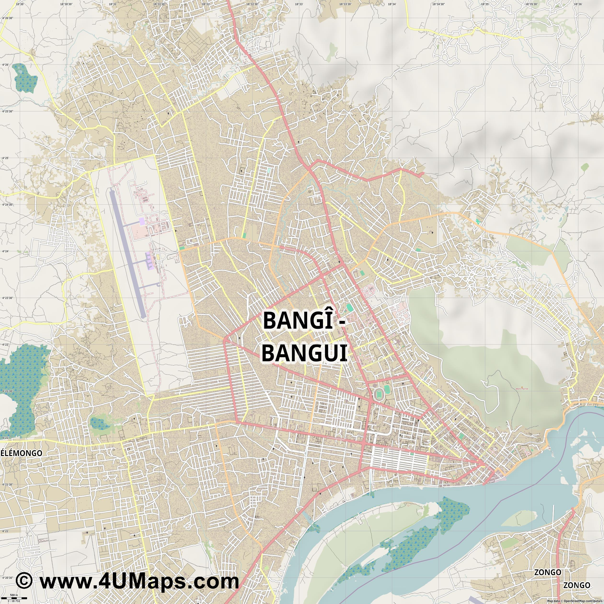 Bangui  jpg ultra high detail preview vector city map