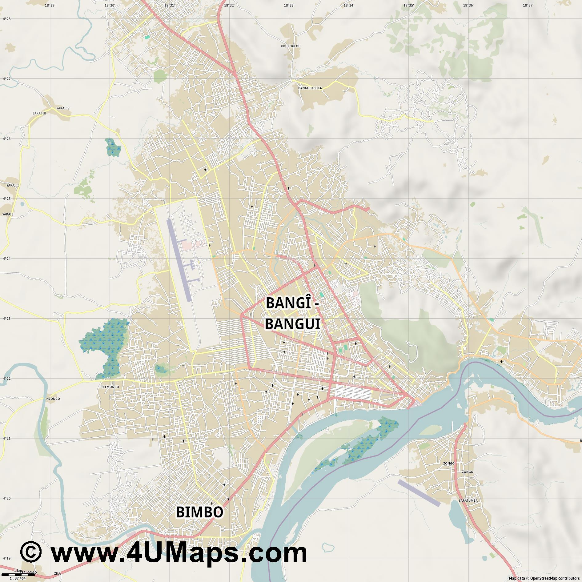 Bangui  jpg high detail, large area preview vector city map