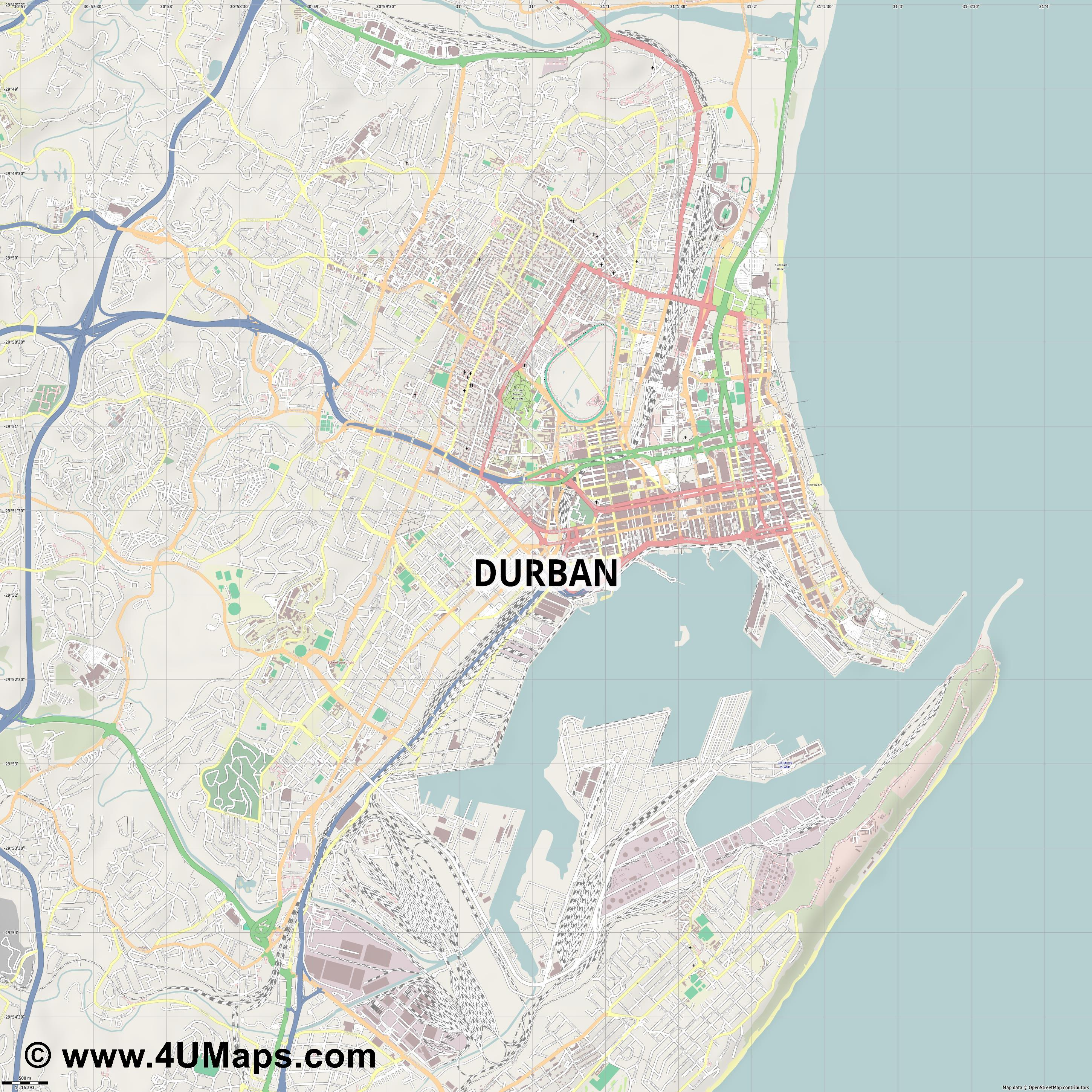 Durban  jpg ultra high detail preview vector city map