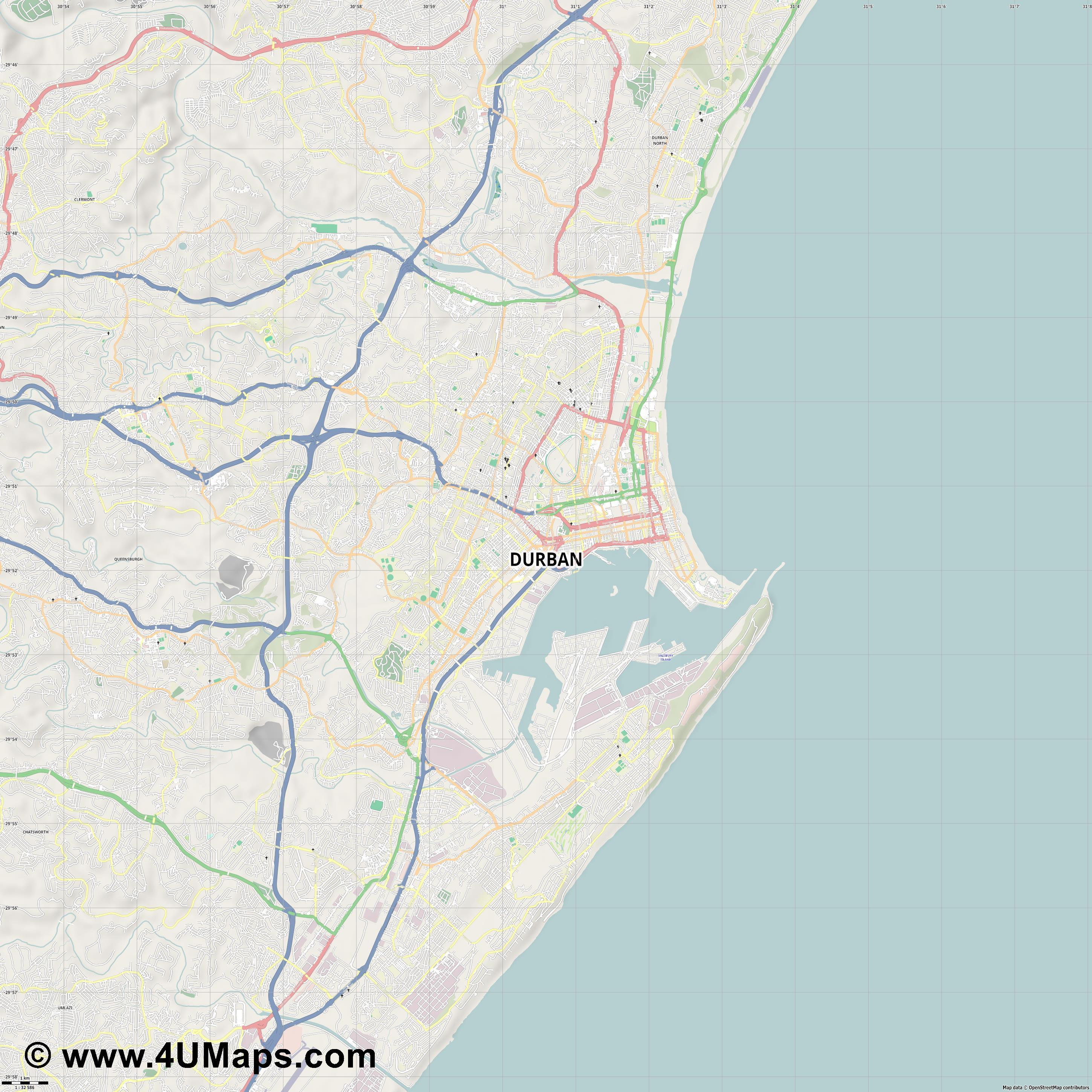 Durban  jpg high detail, large area preview vector city map