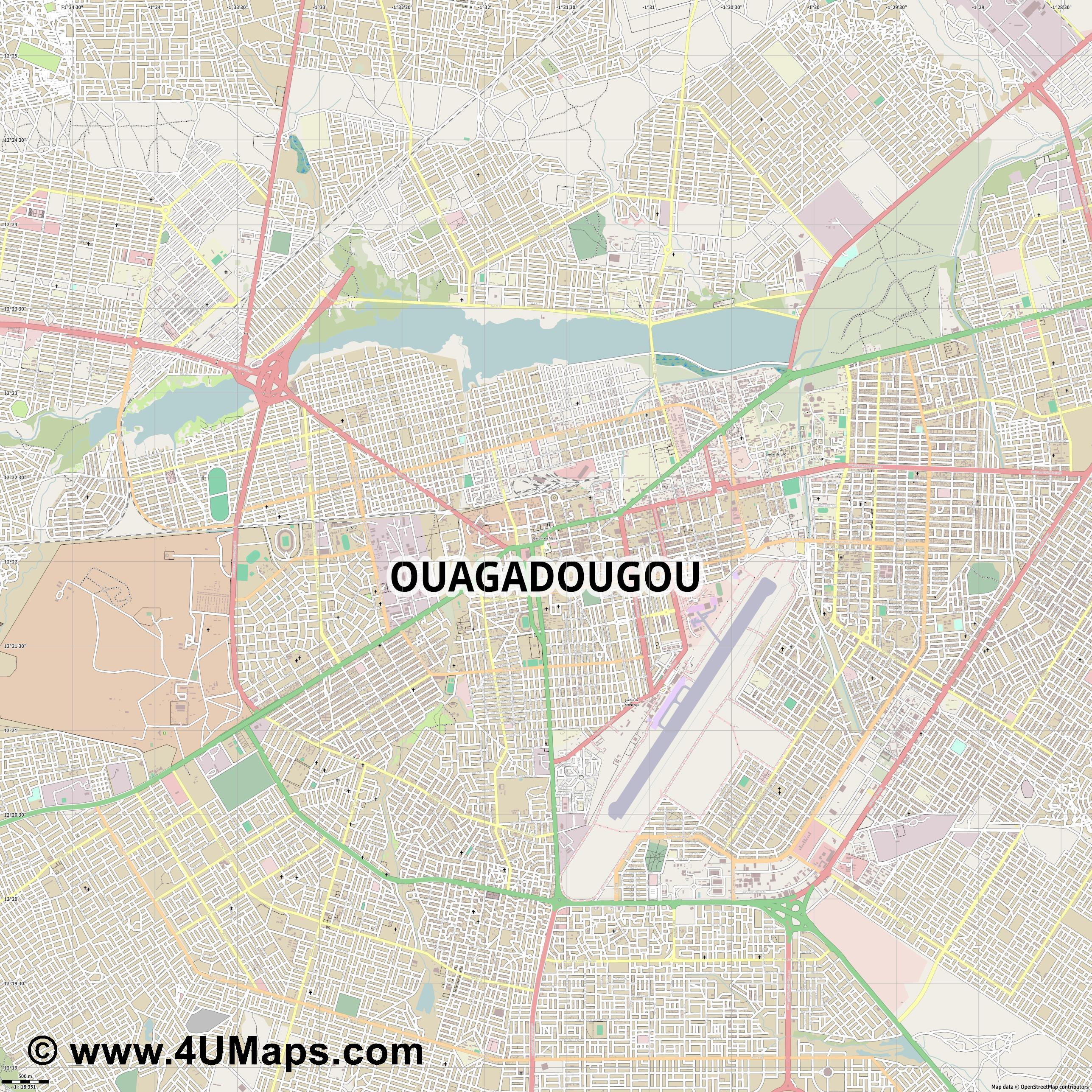 Ouagadougou Uagadugú  jpg ultra high detail preview vector city map