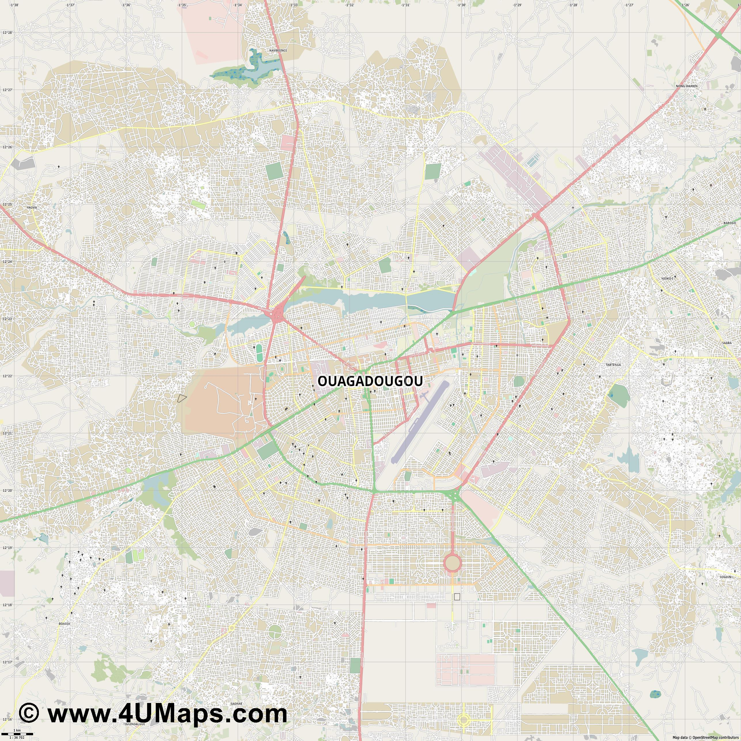 Ouagadougou Uagadugú  jpg high detail, large area preview vector city map