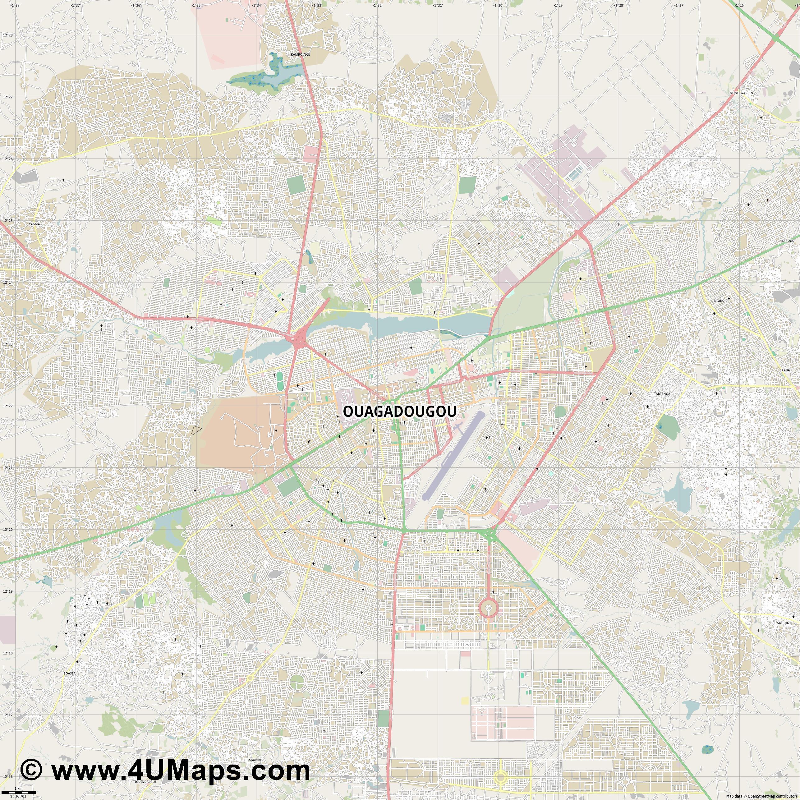 PDF Svg Scalable Vector City Map Ouagadougou