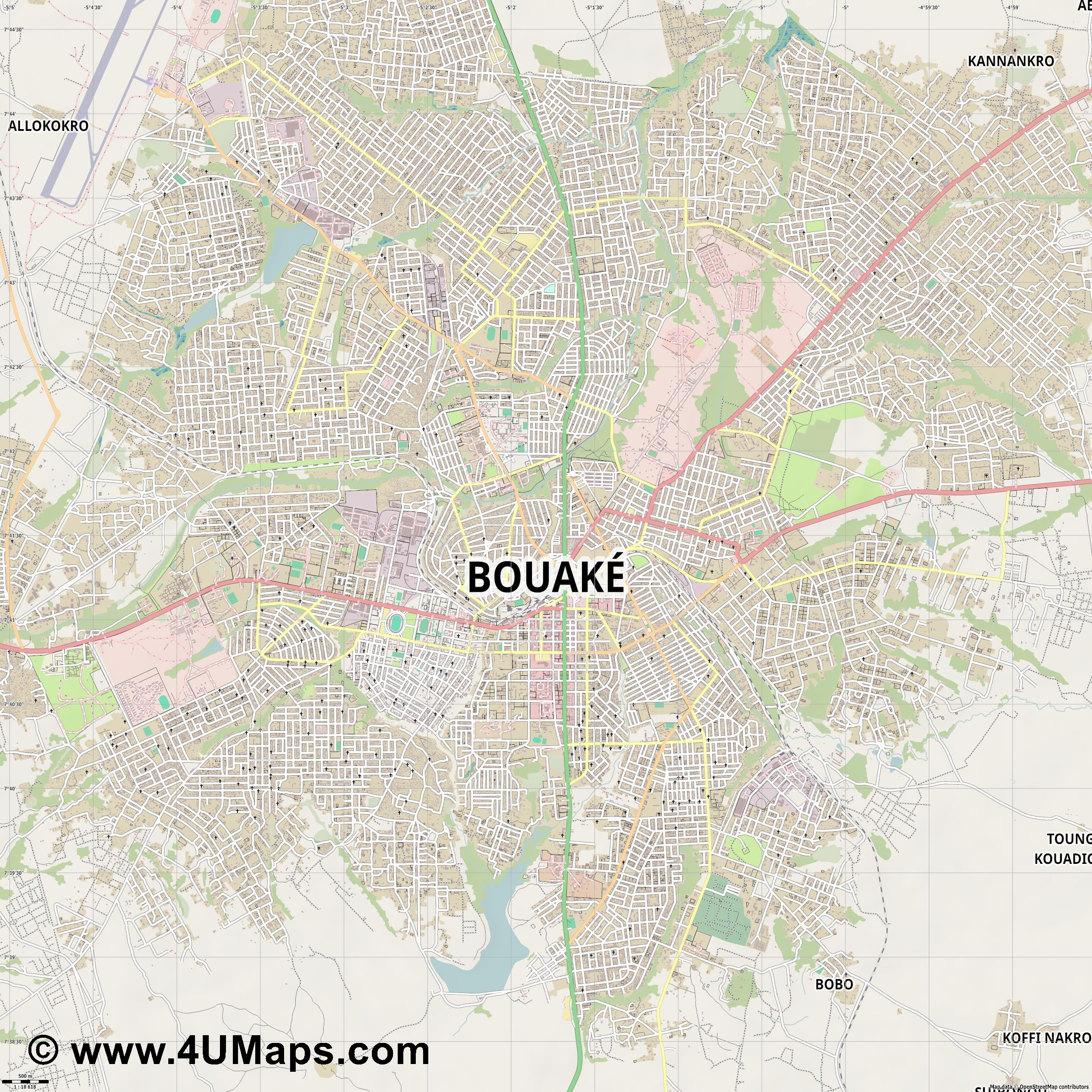 Bouaké  jpg ultra high detail preview vector city map