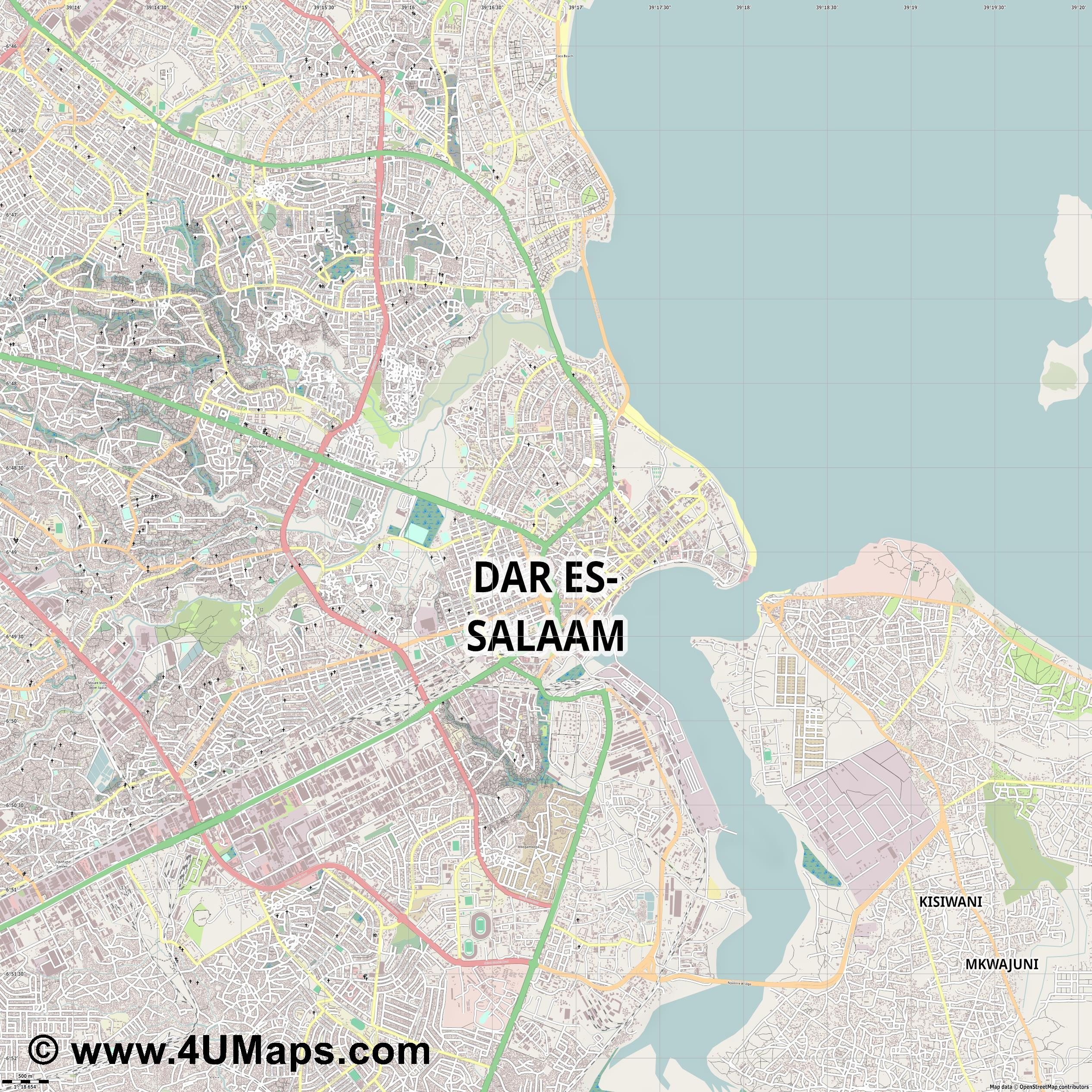 Dar es Salaam Daressalam  jpg ultra high detail preview vector city map